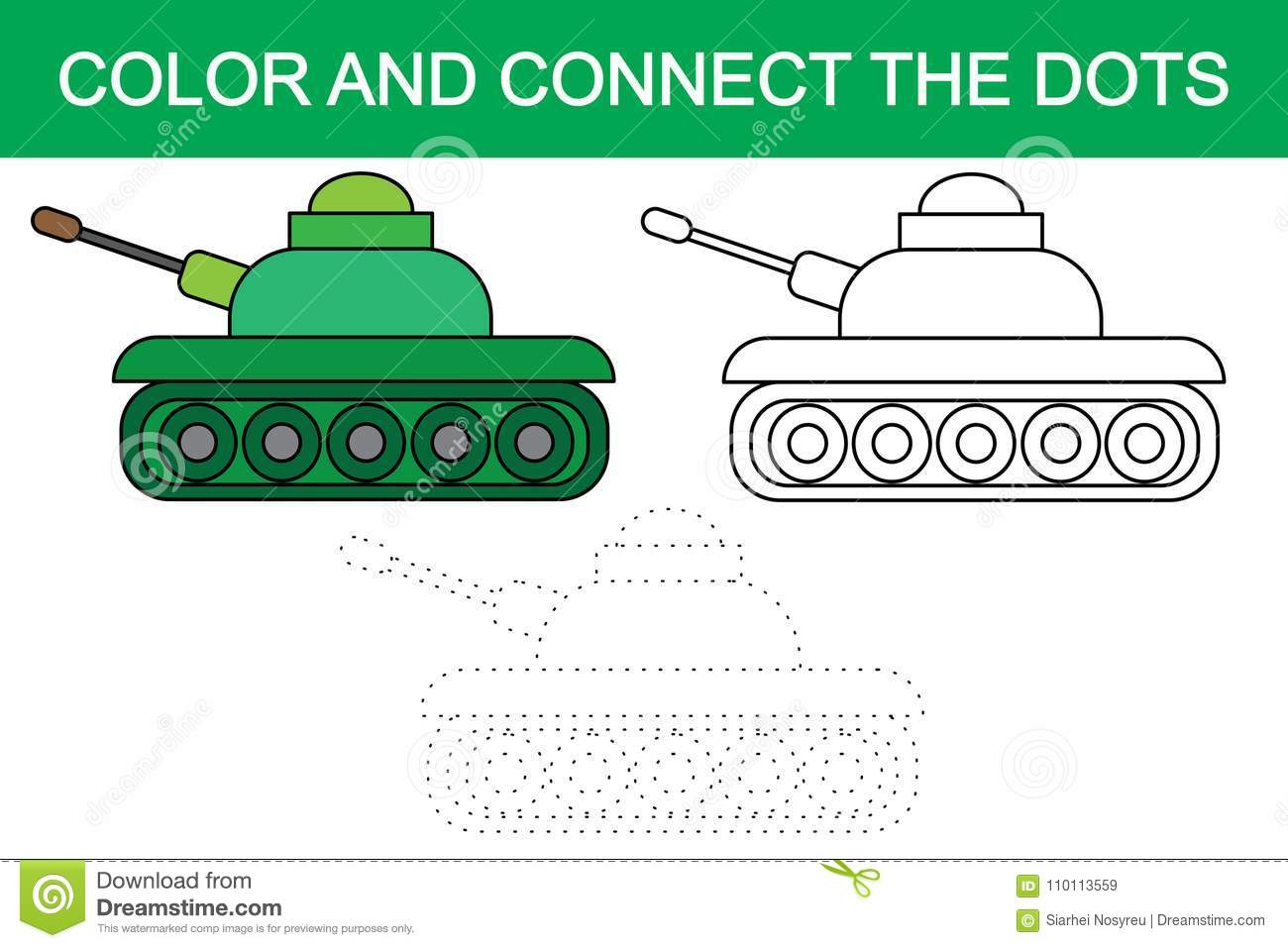 Color And Connect The Dots Of Image Of Cartoon Tank Transport. Stock ...