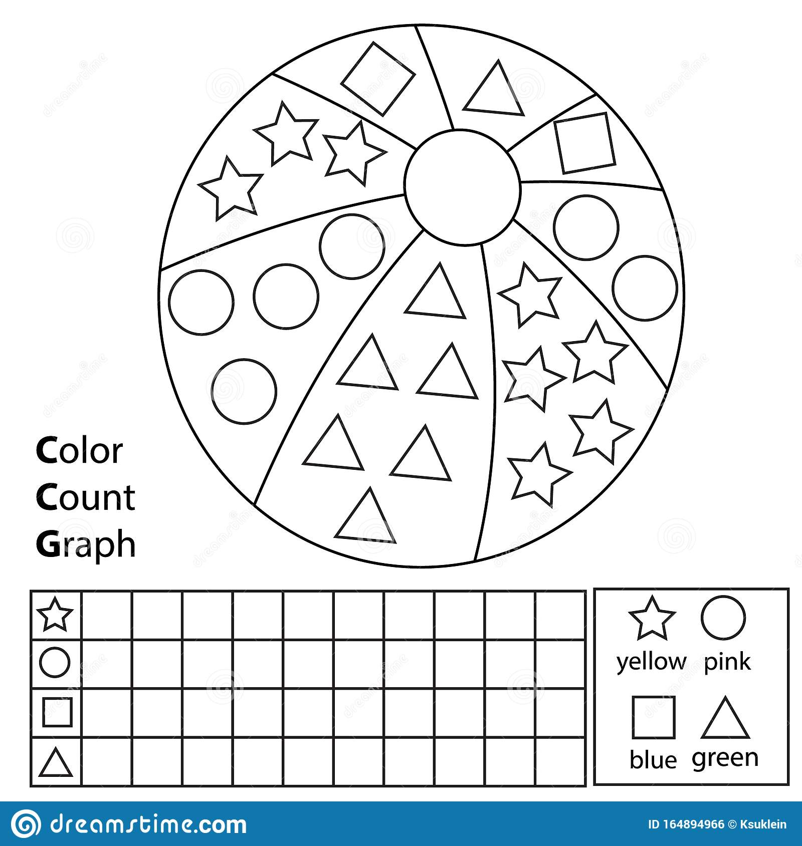 - Color, Count And Graph. Educational Children Game. Color Ball And