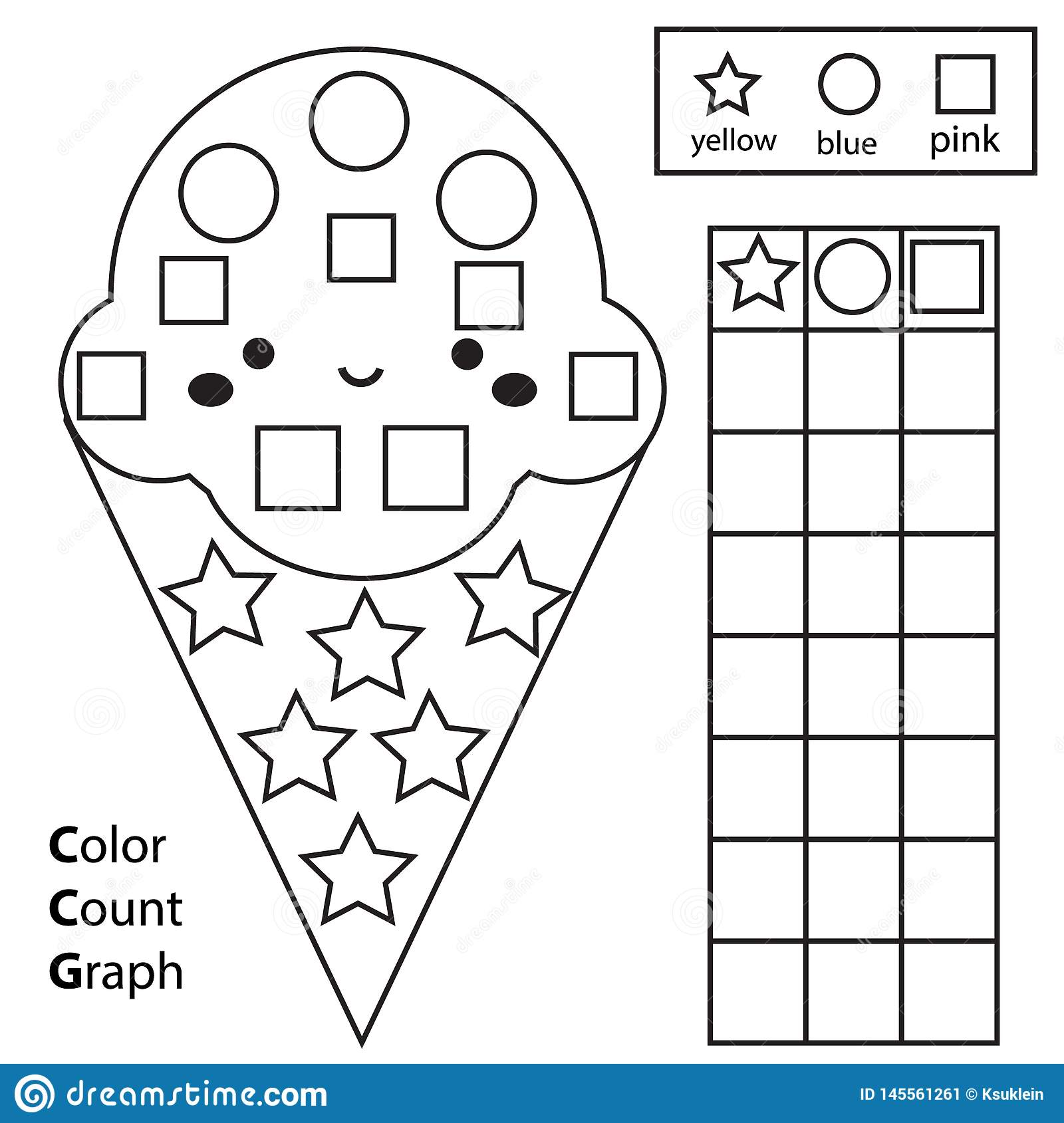 photo regarding Shapes Printable identify Shade, Depend And Graph. Insightful Small children Video game. Coloration Ice