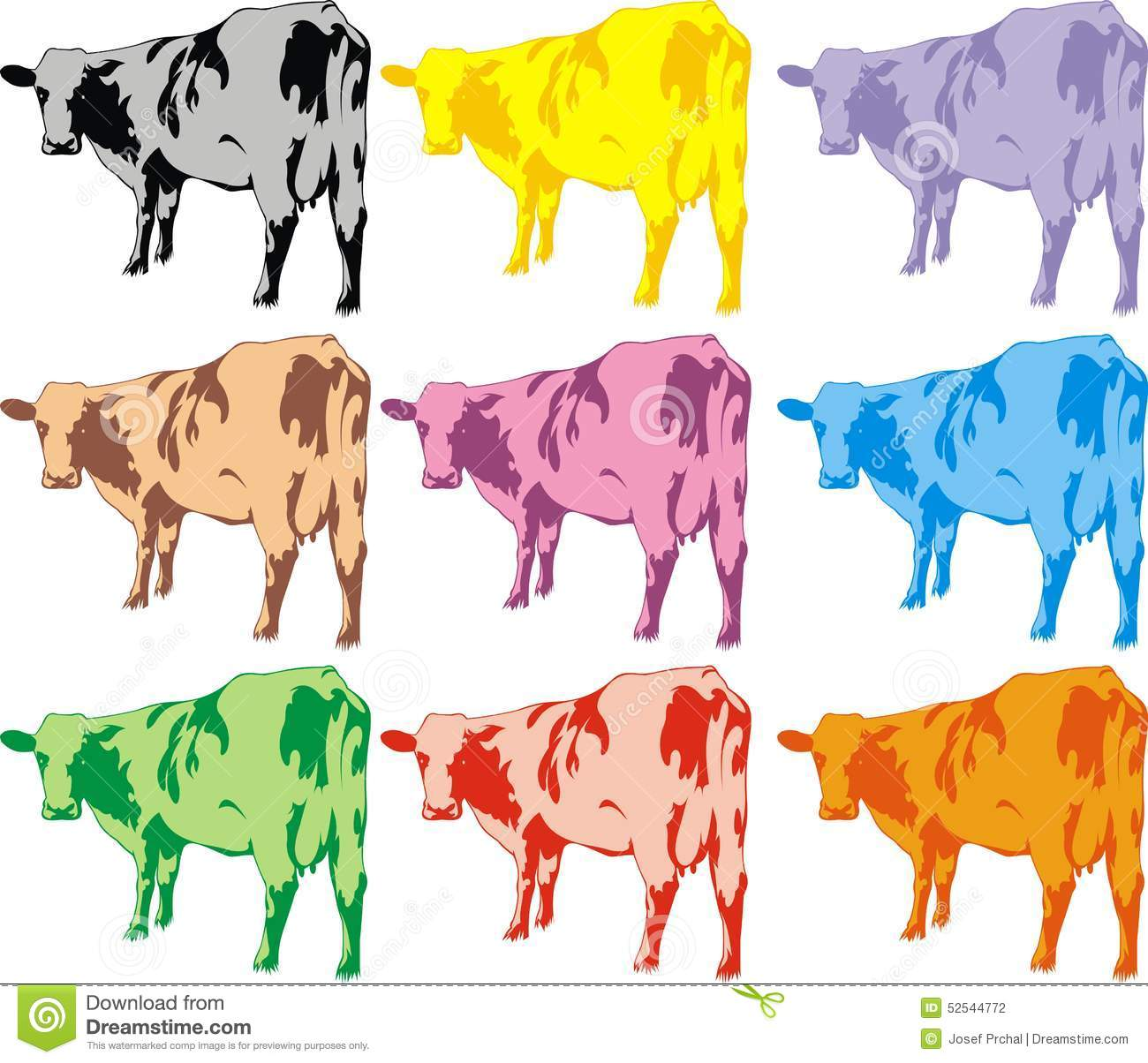 Color cows isolated on the white background.