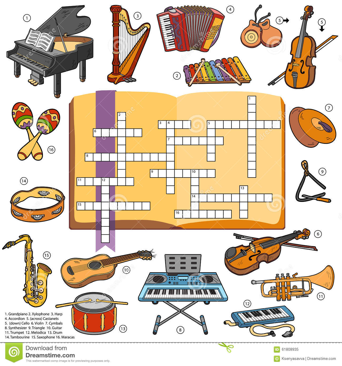 Worksheet Percussion Instruments Crossword music instruments color stock vector image 45070846 crossword game for children about royalty free photo