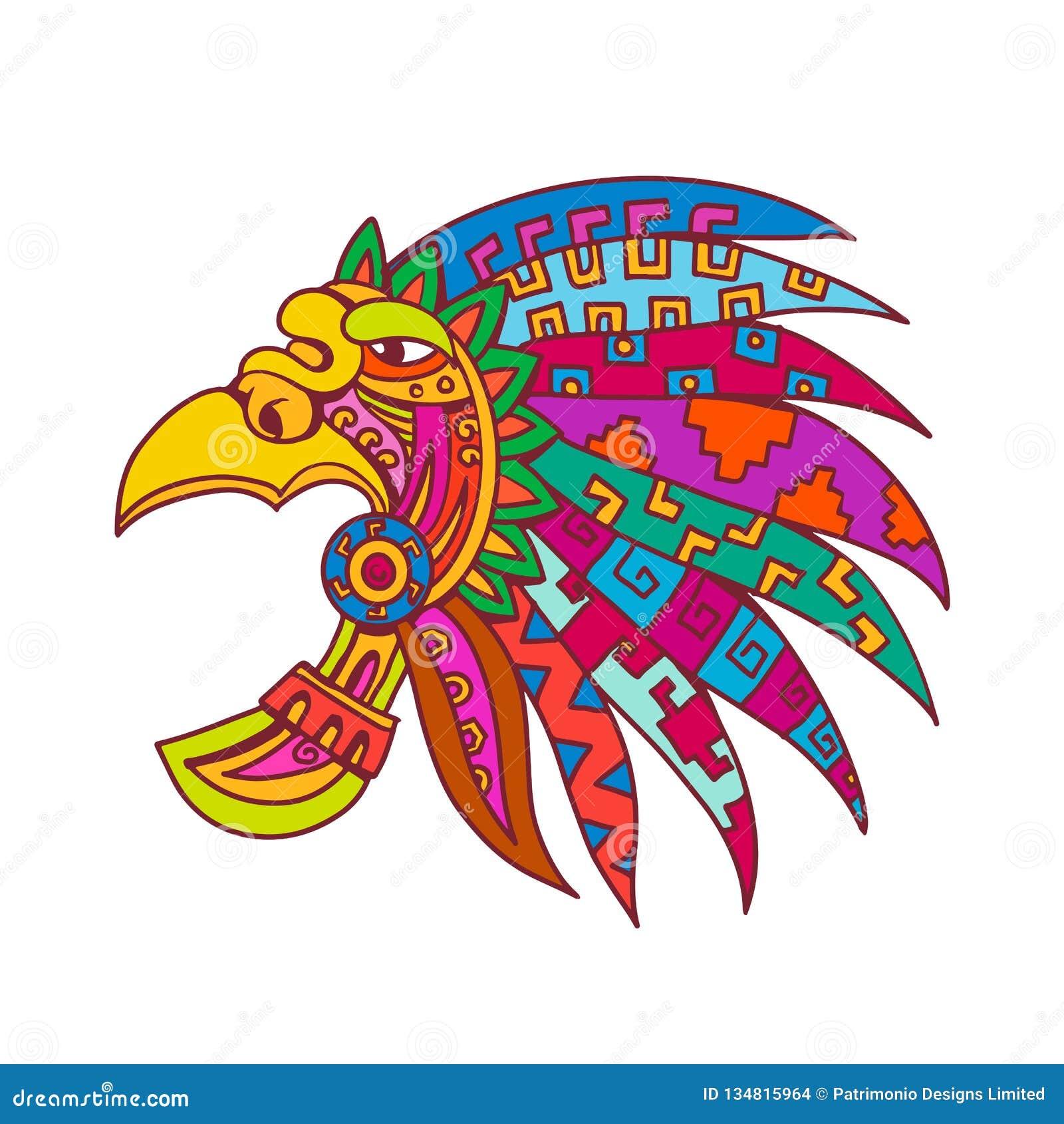 Color De Dibujo Azteca Antiguo Del Tocado Ilustración Del Vector