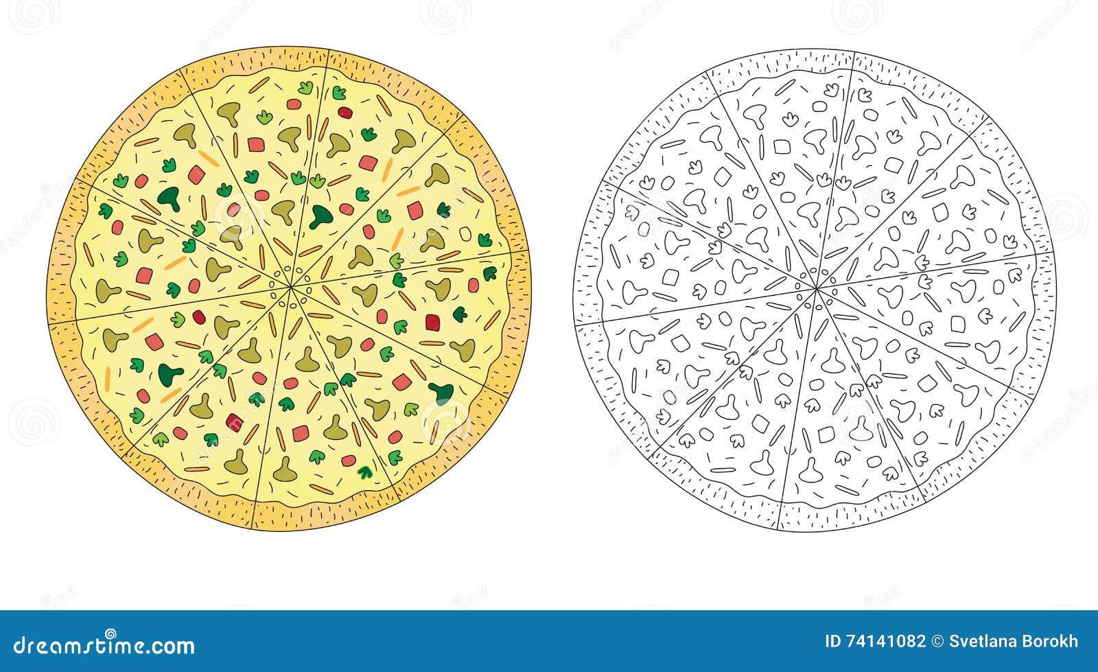 Color De Dibujo De La Pizza, Y Línea Bosquejo Blanco Y