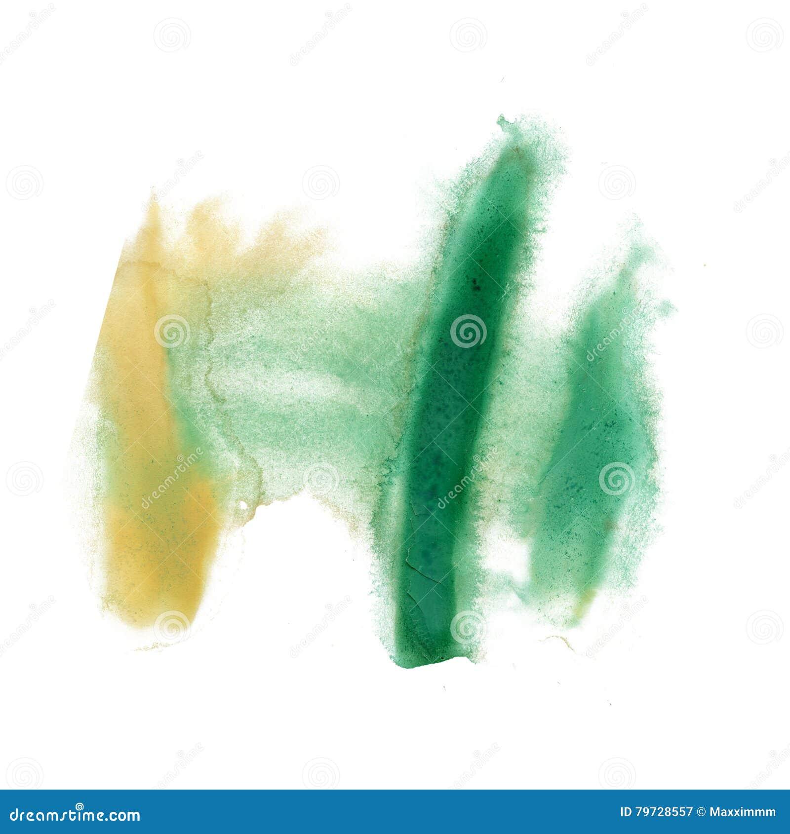 Color de la textura del movimiento de la pintura de los movimientos de la acuarela con el amarillo del verde del espacio para su