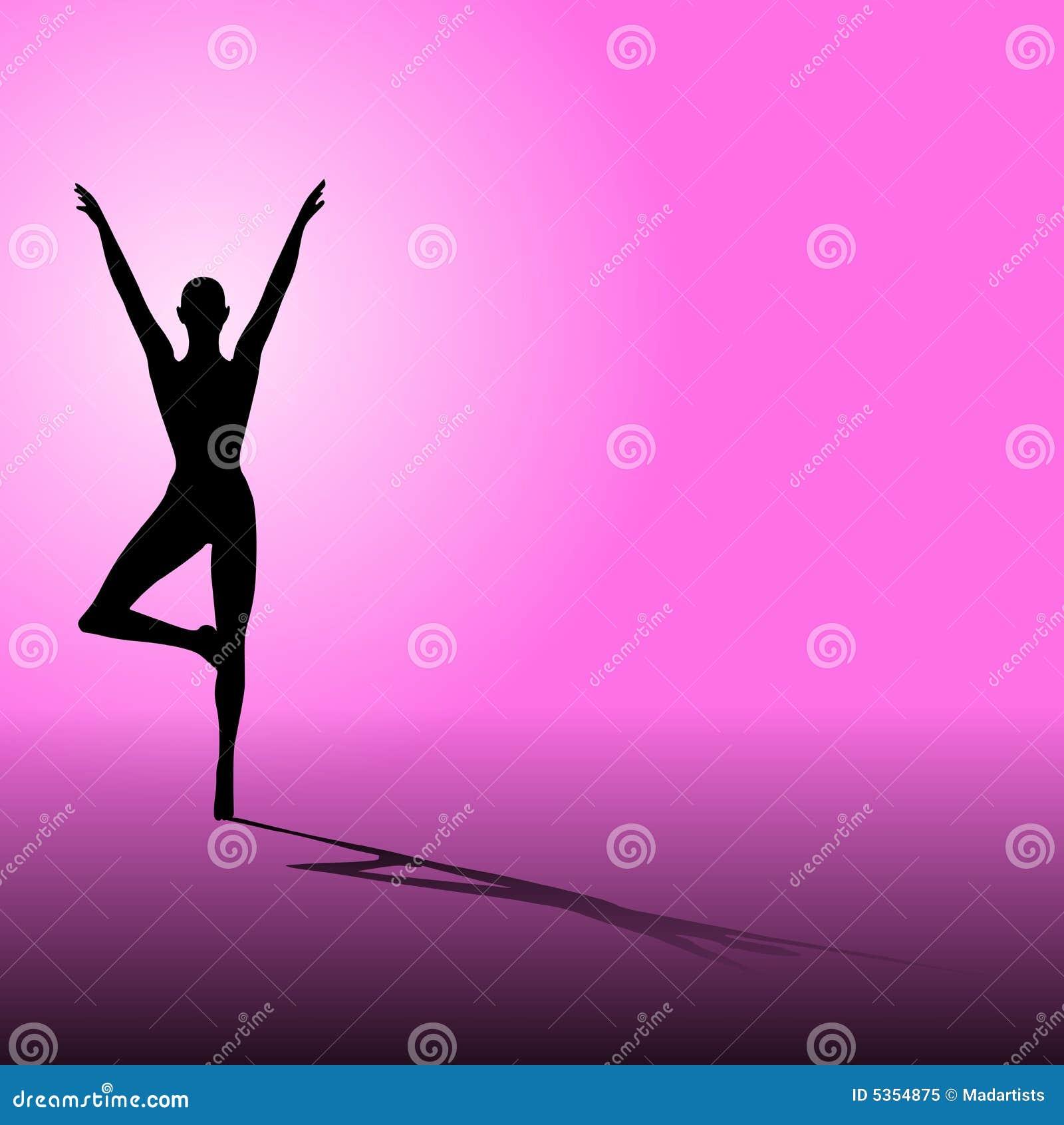 Color de rosa de la silueta de la yoga de la aptitud