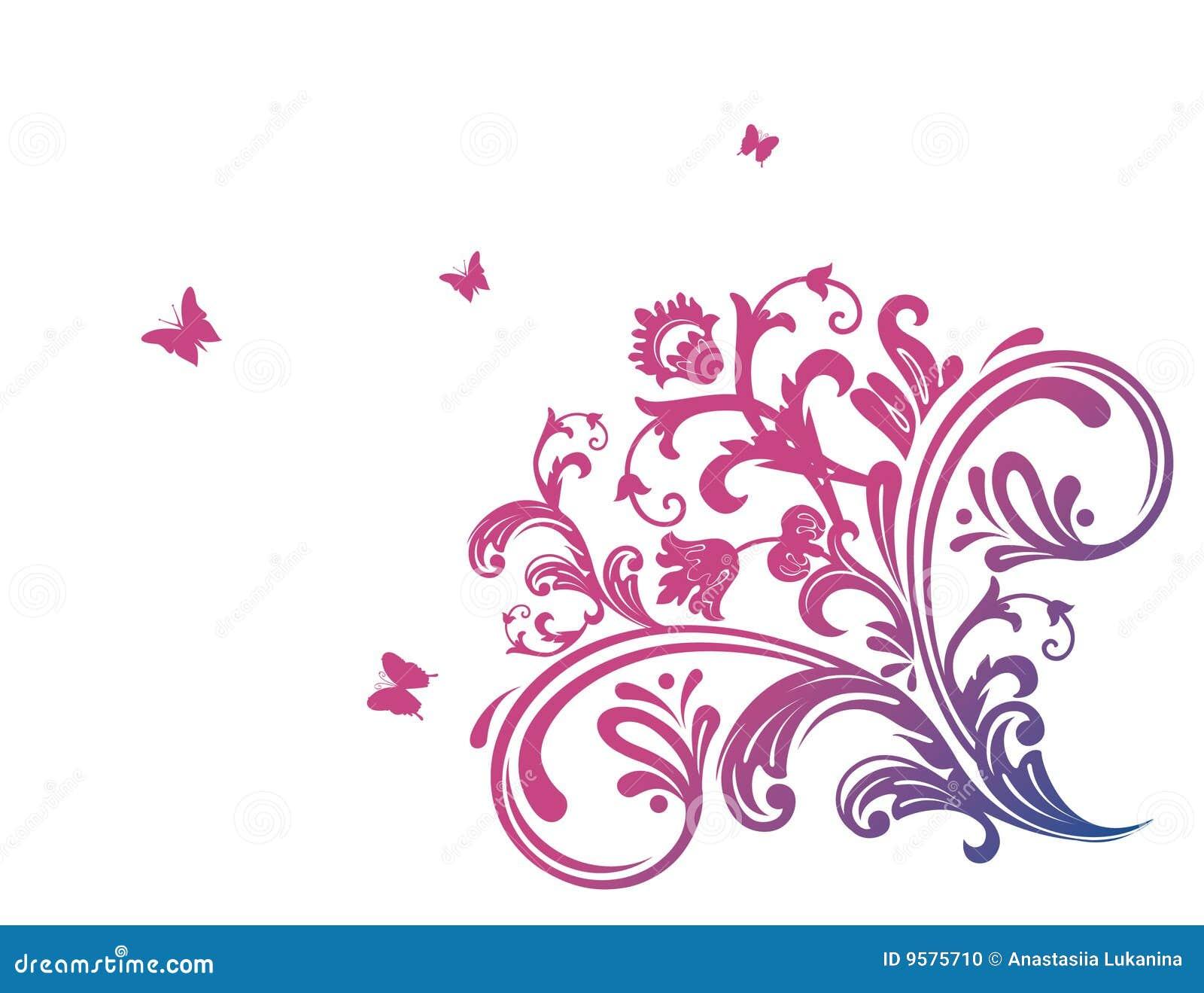 Color De Rosa Floral Con La Mariposa Foto De Archivo