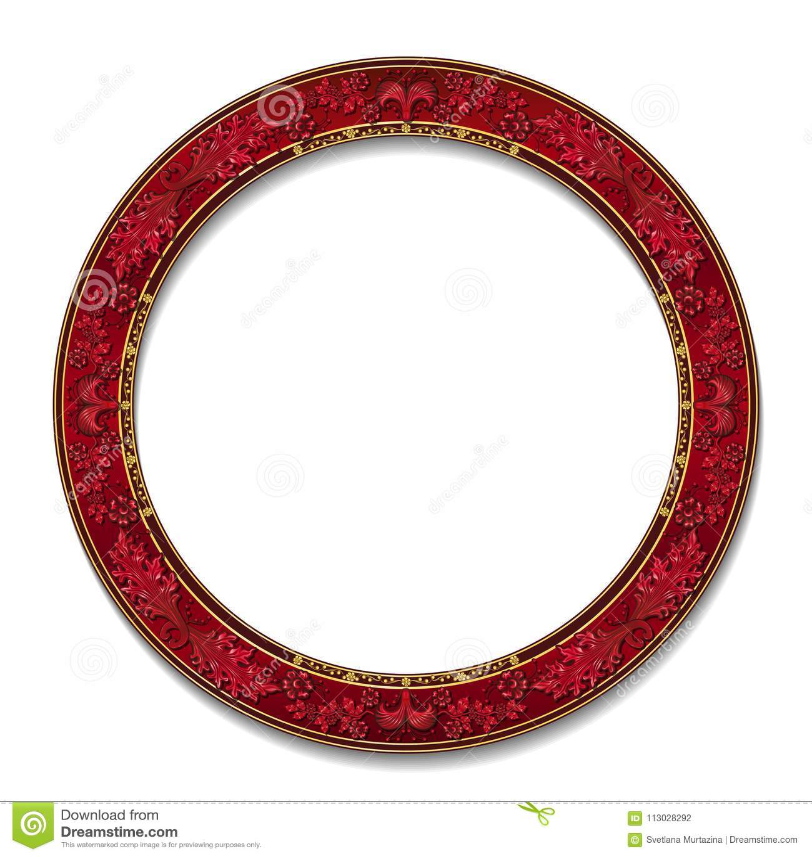 Color de rubíes del marco redondo con la sombra