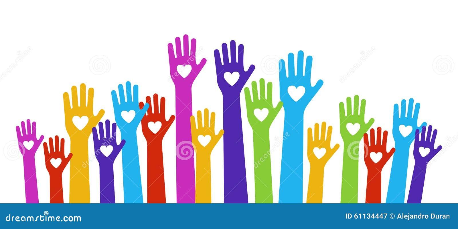 Color del amor de las manos