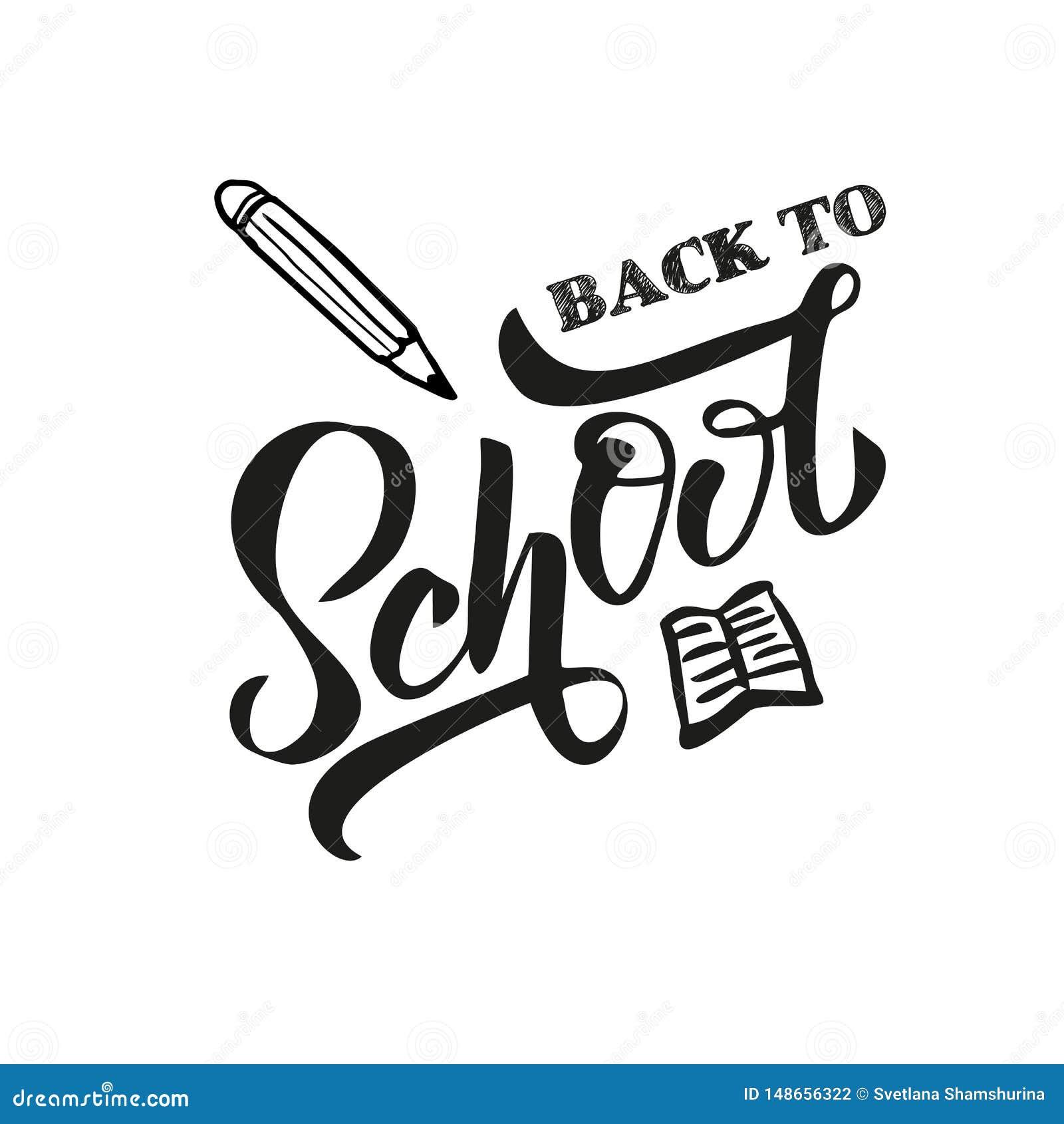 Color del negro de la mano de nuevo al texto de escuela letering en el fondo blanco con el l?piz exhausto para el logotipo, bande