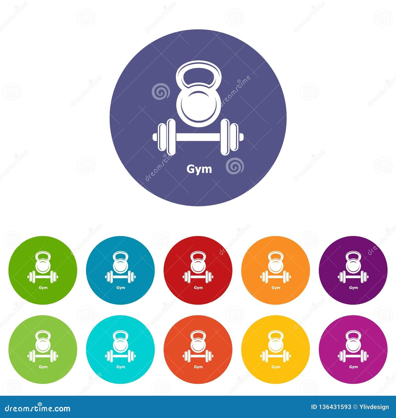 Color del vector del sistema de los iconos del metall del gimnasio