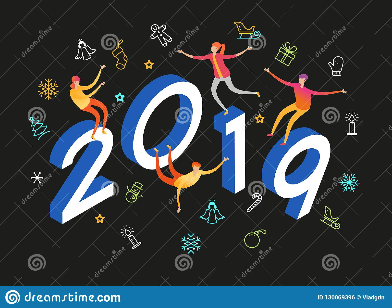 2019 happy new year background stock vector - New year 2019 color ...