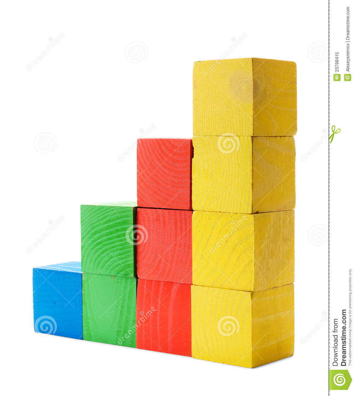 Color diagram chart of wooden blocks royalty free stock