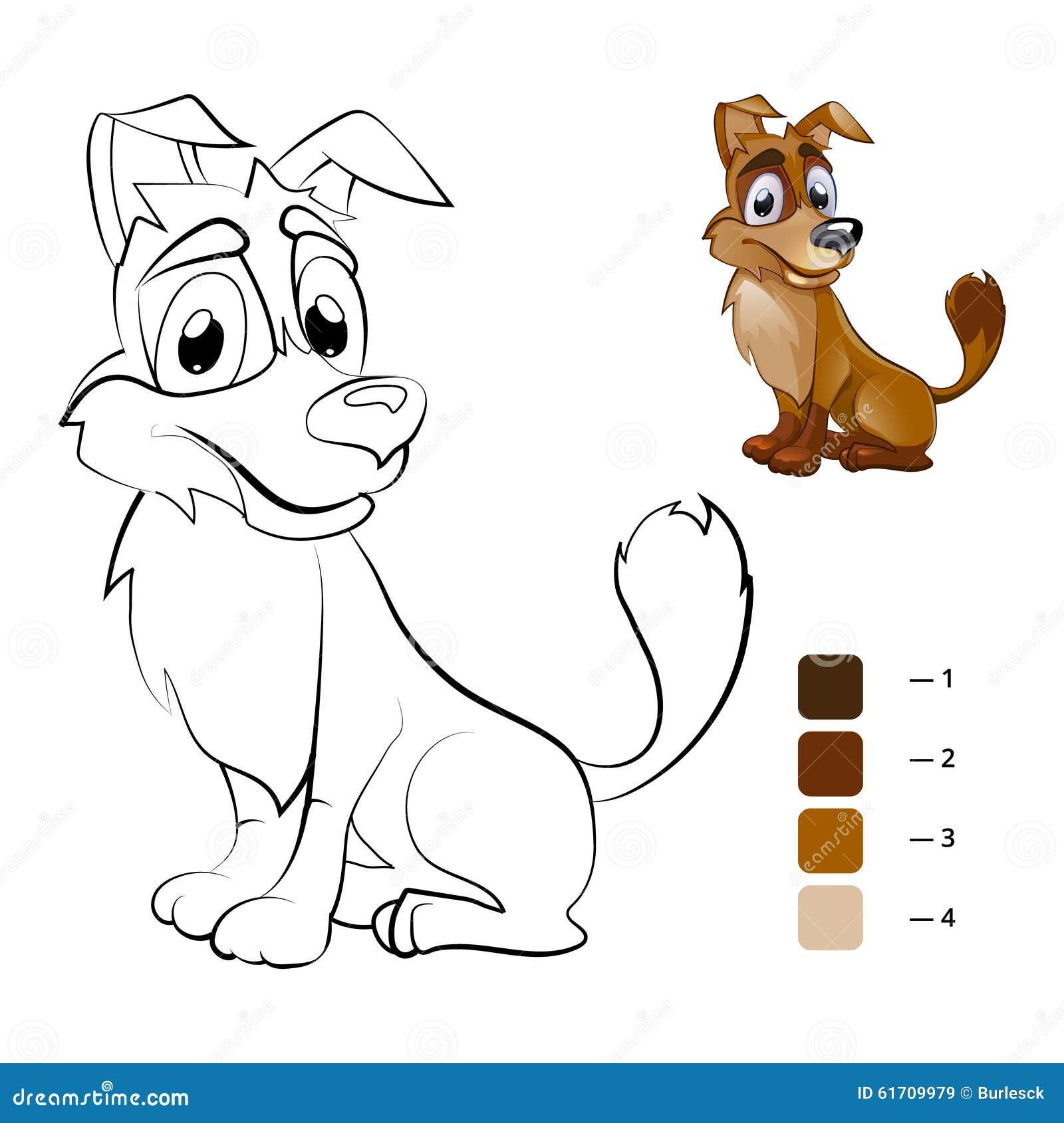 Color Dog Coloring Book For Preschool Children Stock Vector