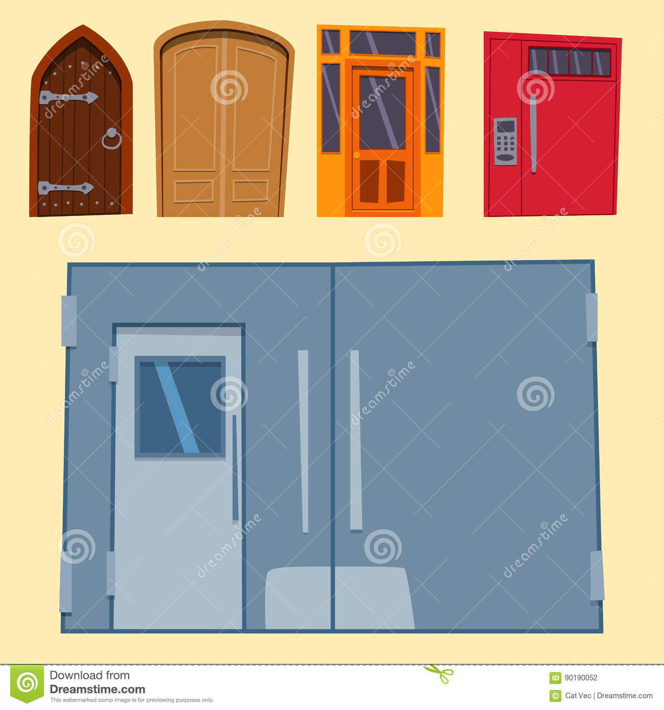 Color Door Front To House And Building Flat Design Style