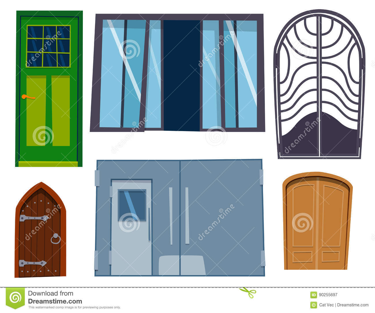 Color Door Front To House And Building Flat Design Style Vector
