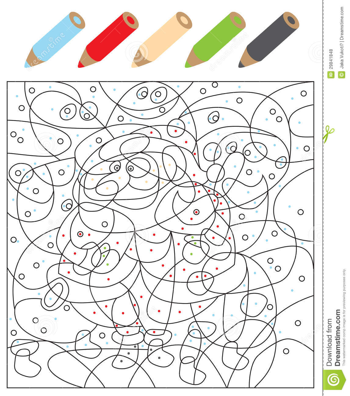 Color The Dots Visual Game Stock Vector Illustration Of Contours