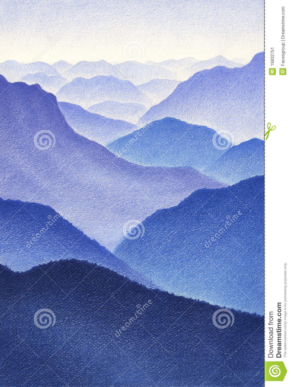 Color Drawing Of Blue Mountains Stock Image Image 19932751