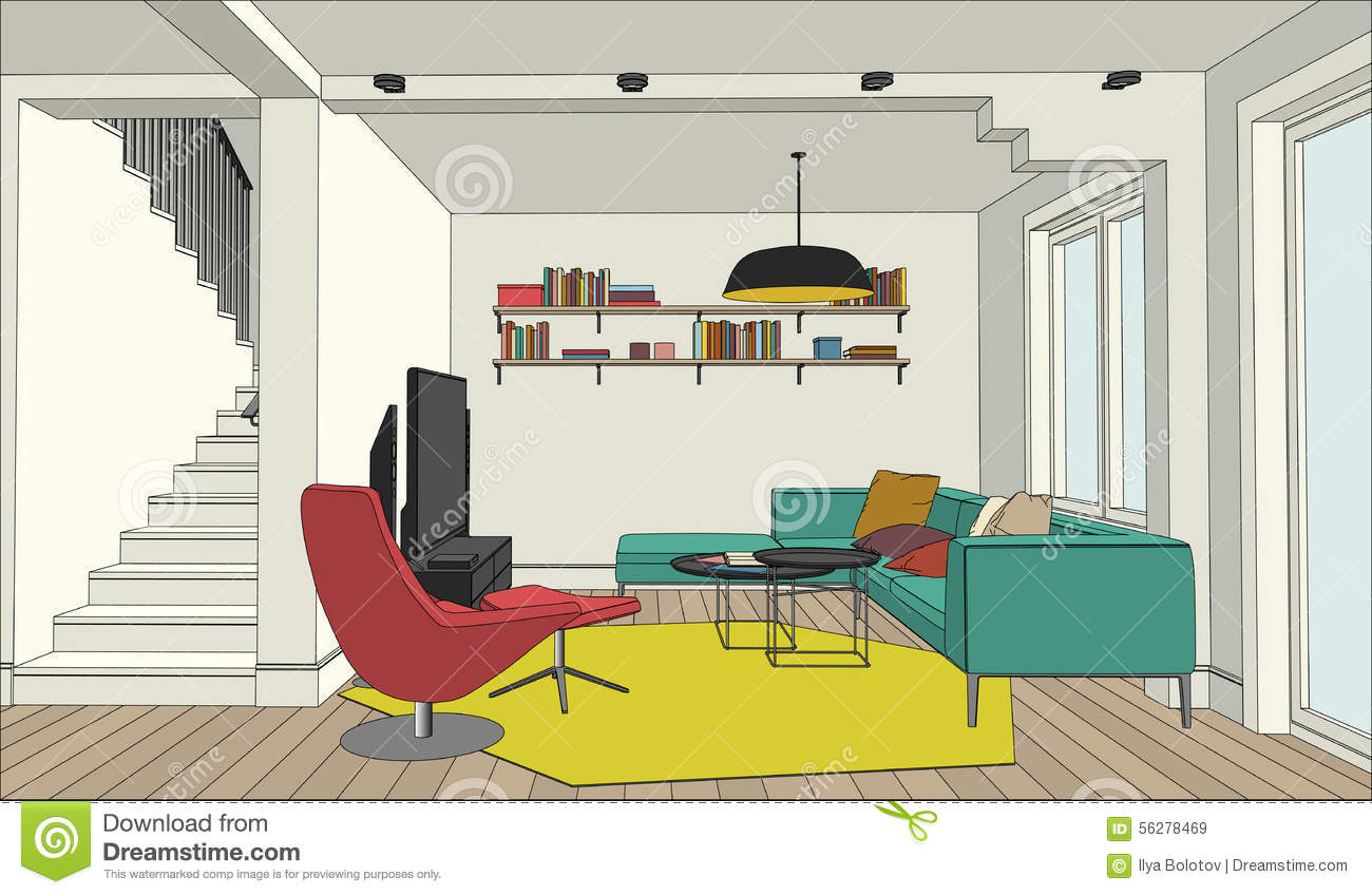 color drawing of the interior stock vector illustration. Black Bedroom Furniture Sets. Home Design Ideas