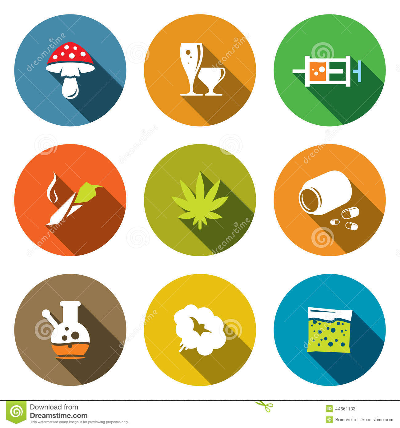 Color Drugs Flat Icon Collection Stock Illustration - Image: 44661133