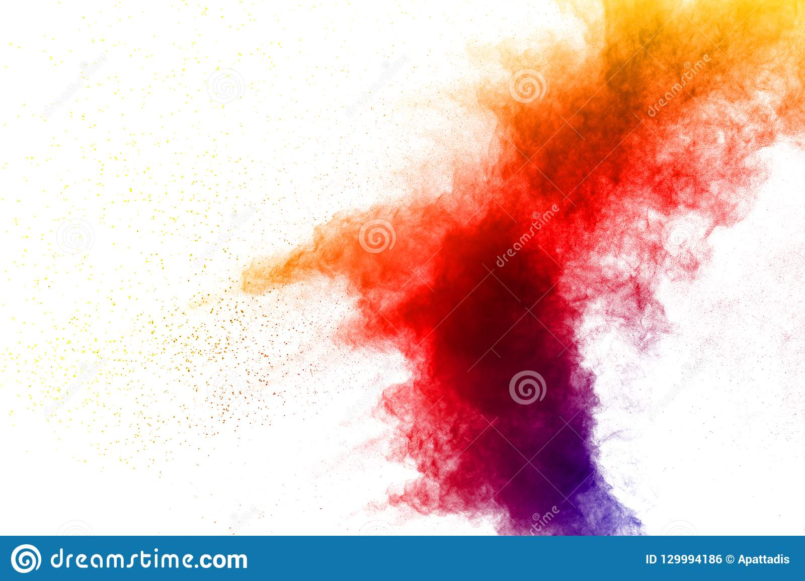 Color dust splash cloud on white background.