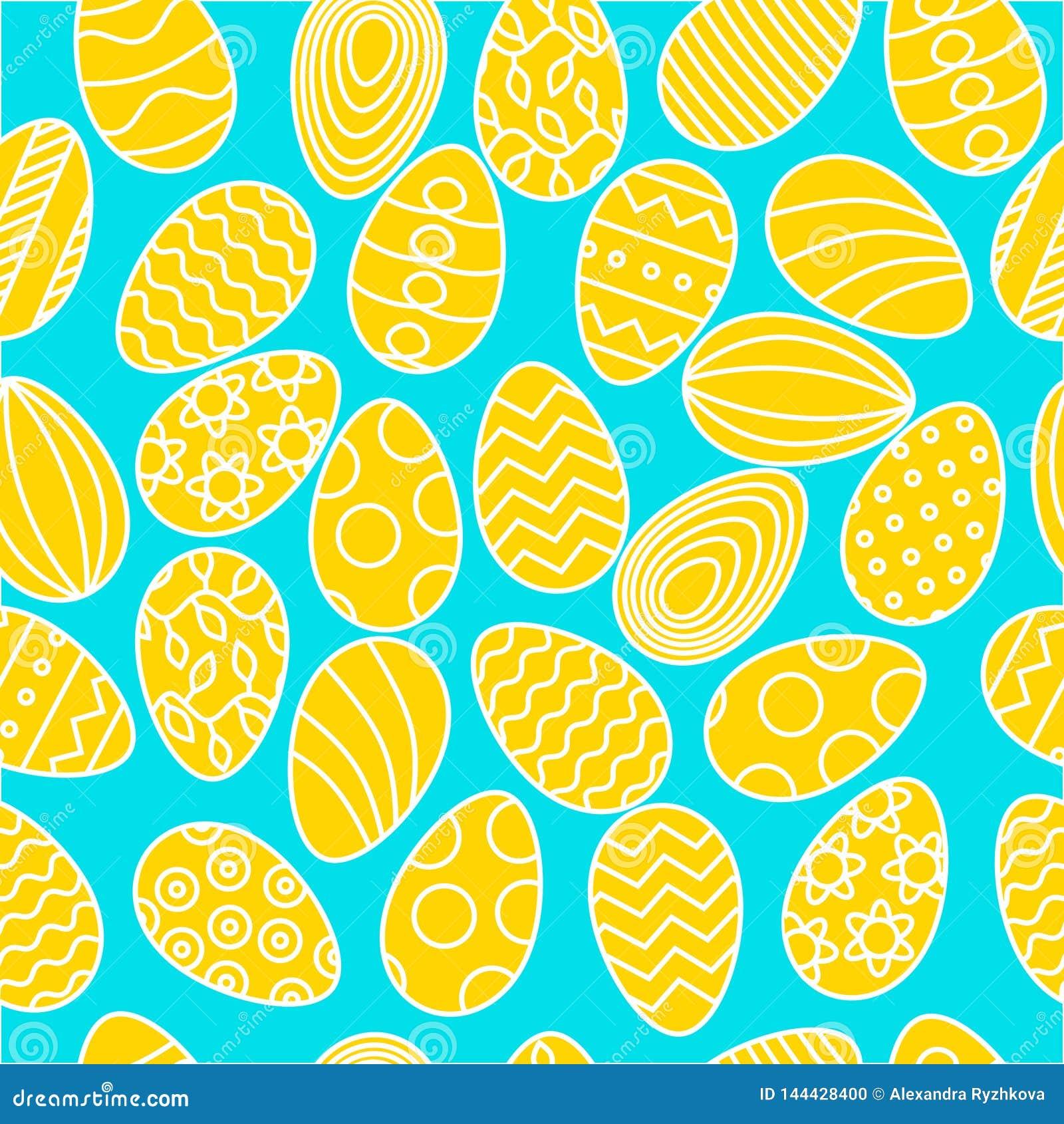 Color eggs pattern on light blue background for Easter banner