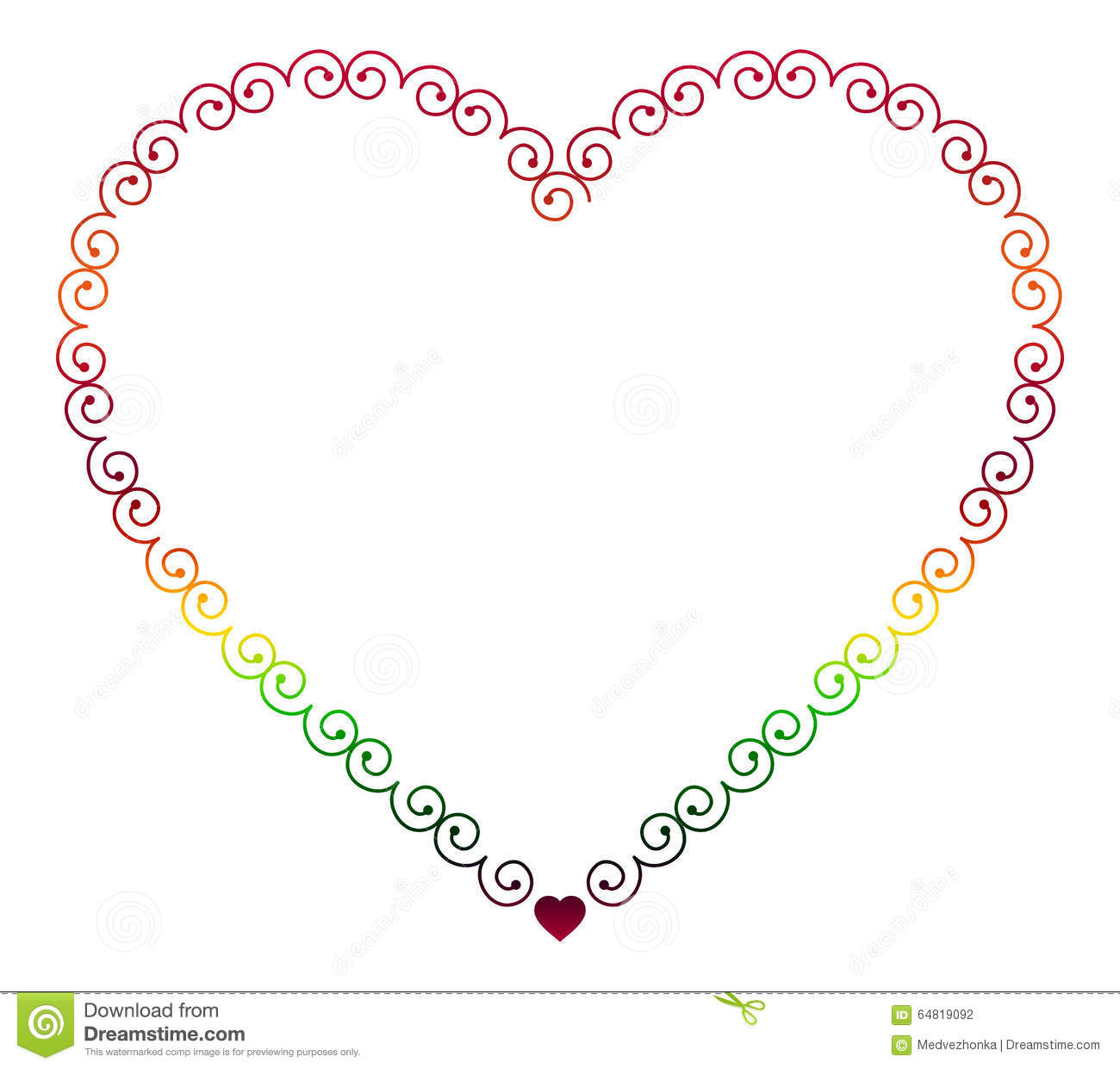 Color Elegant Outline Frame In Shape Of Heart Stock Illustration ...