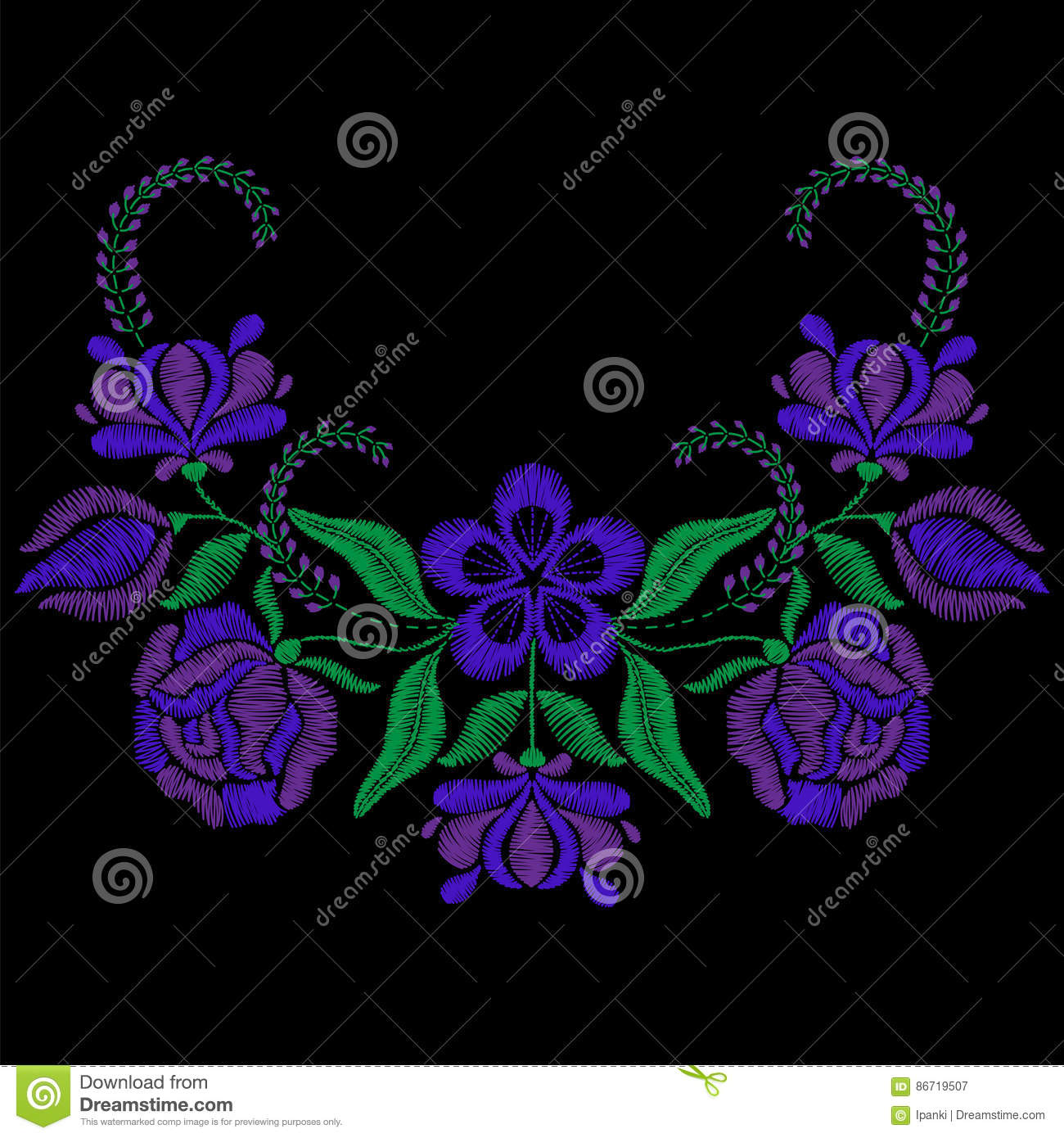 Color Embroidery With Violet Flower Roses Necklace For Fabric Stock Vector Illustration Of Mexican Boho 86719507