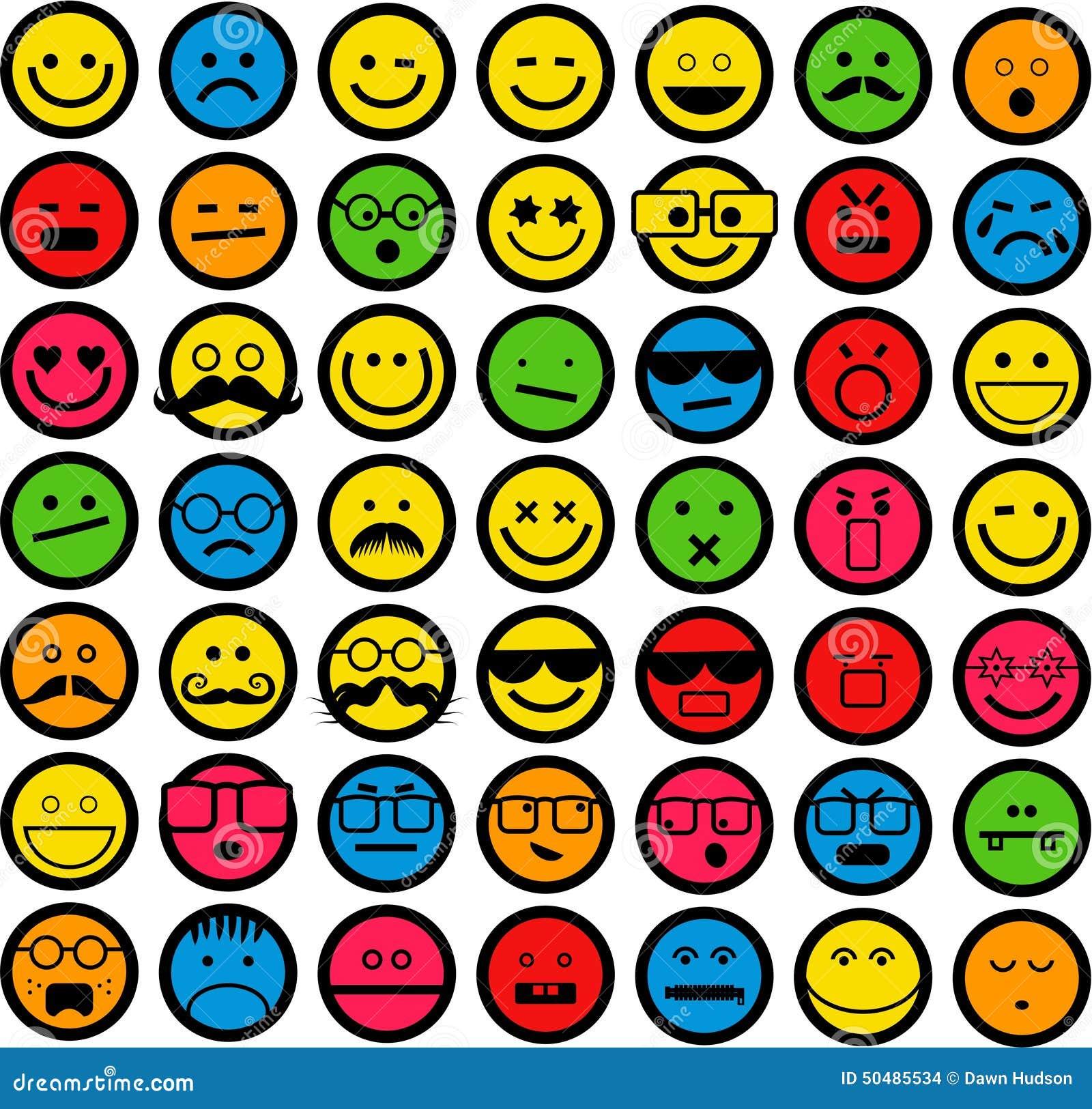 Color emoticons stock illustration image 50485534 - Smiley en noir et blanc ...