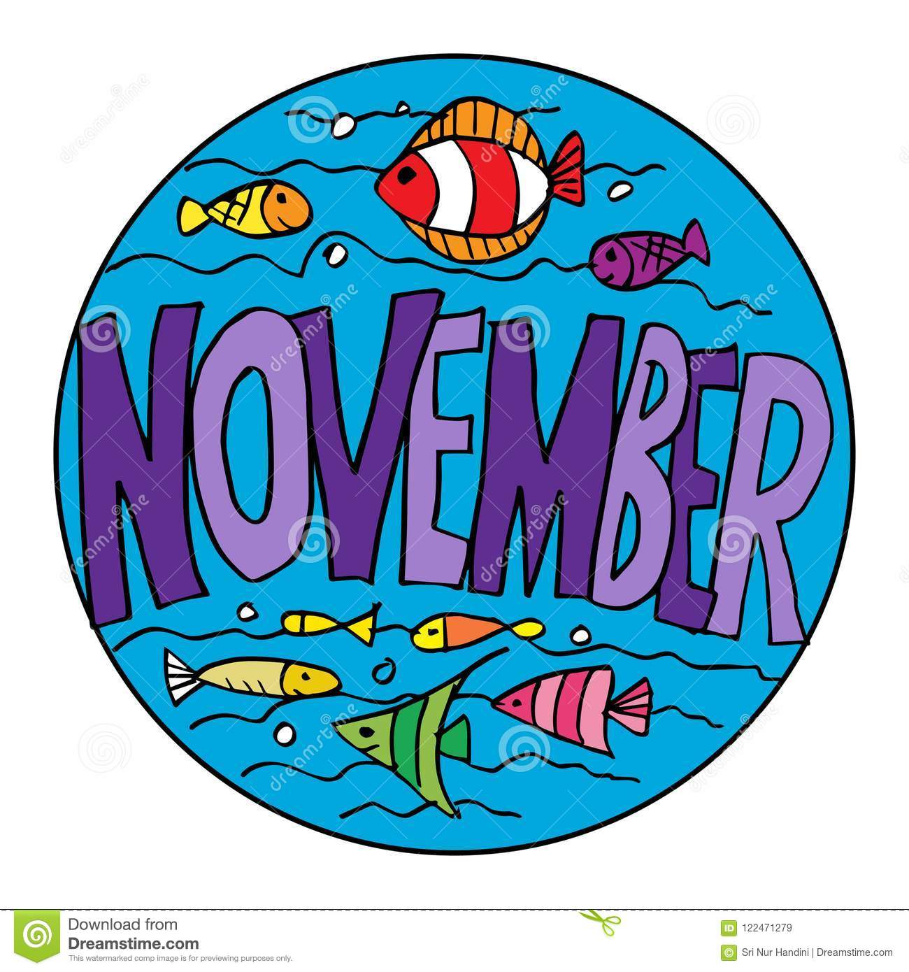 Color Example November Coloring Pages For Kids Stock Illustration Illustration Of Inspiration Line 122471279