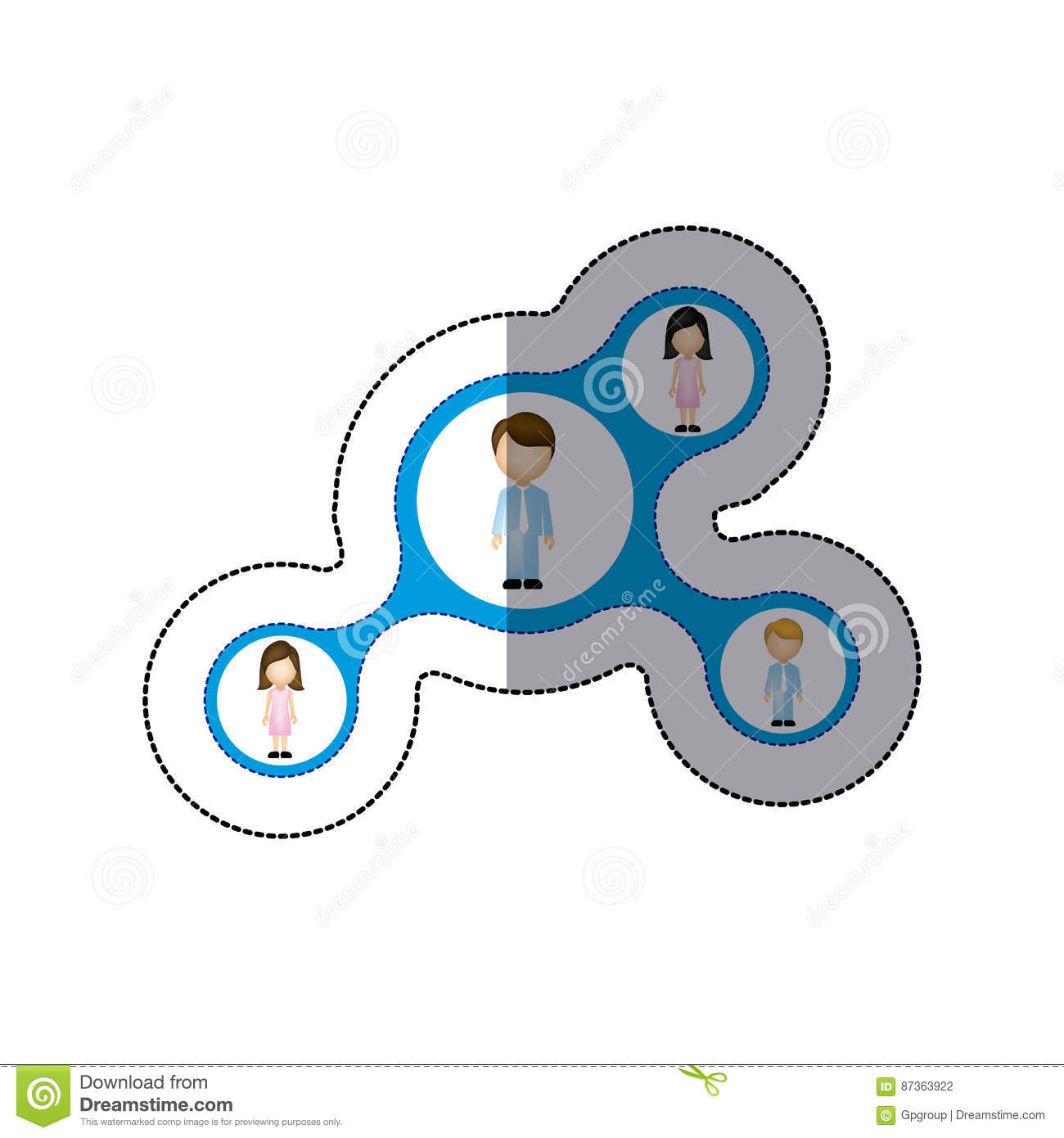 Color Family Connection Icon Stock Illustration