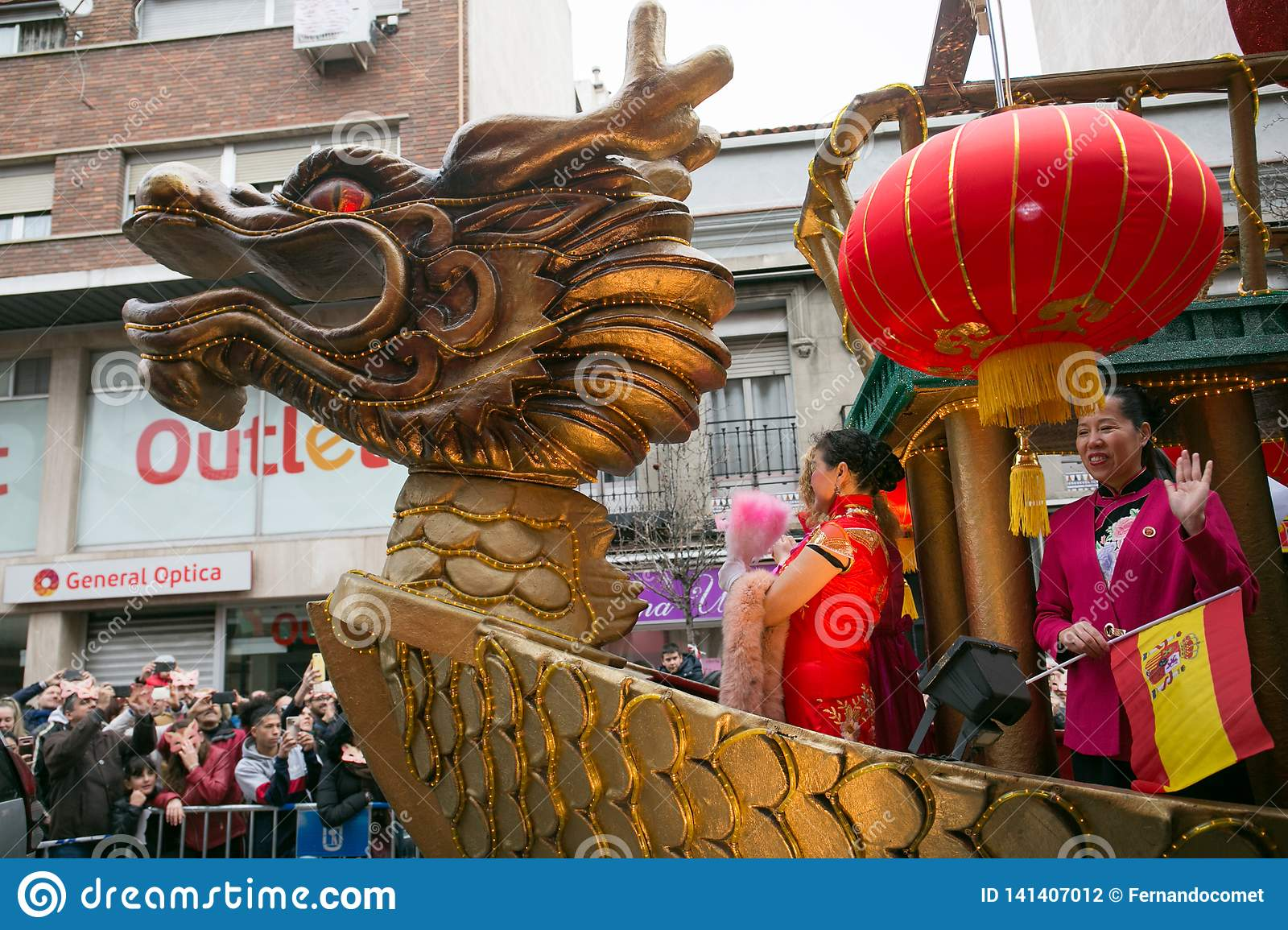 Color float and dragon in chinese new year parade