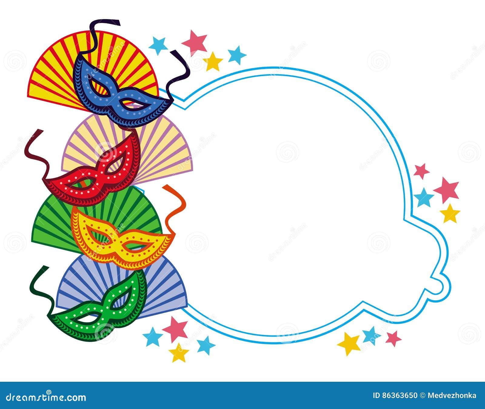 Color Frame With Carnival Masks Raster Clip Art Stock Illustration Illustration Of Book Celebration 86363650
