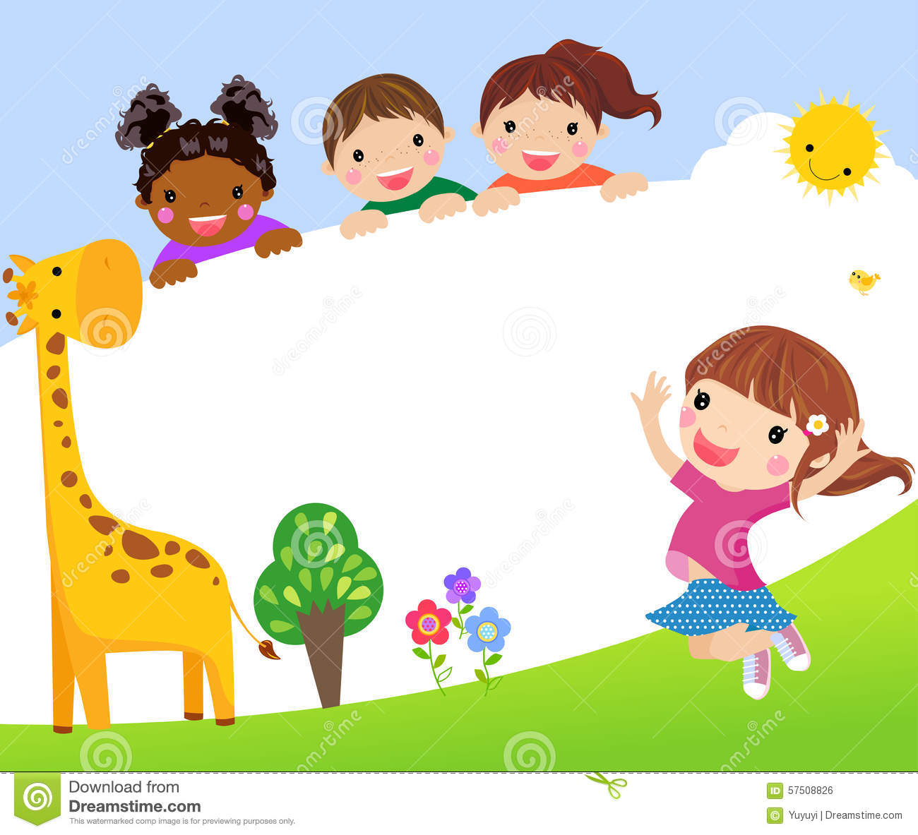Color Frame With Group Of Kids And Giraffebackground