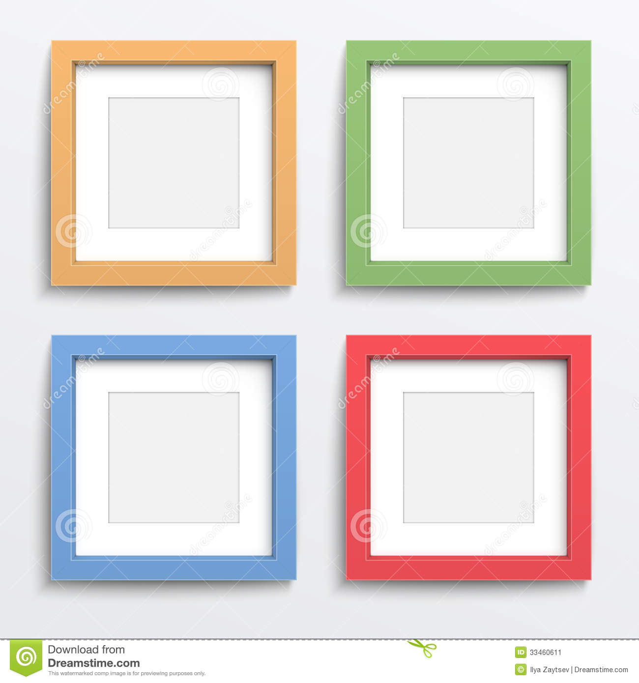 color frame set on gray wall