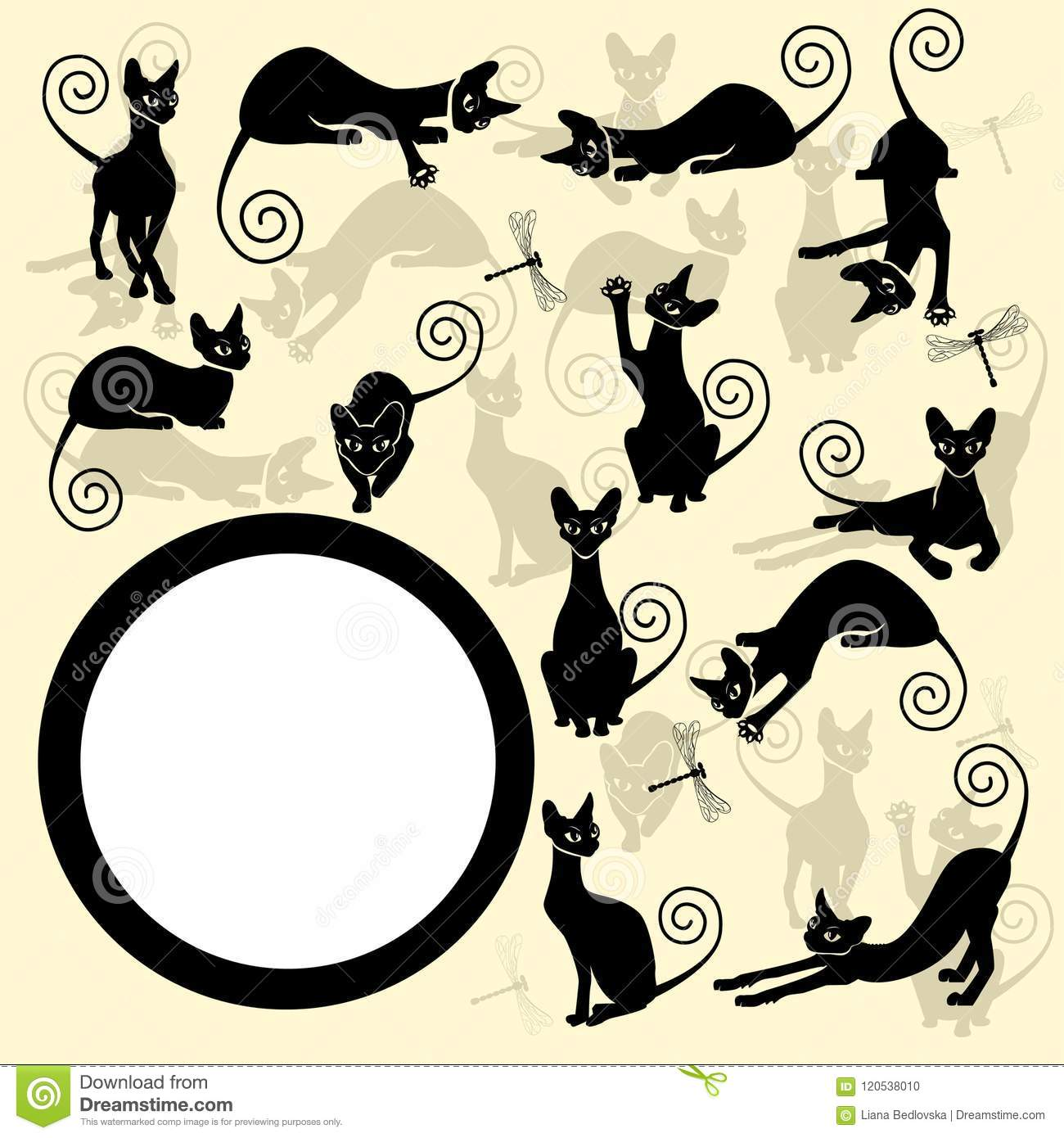 Color Frames With Black Cats Stock Vector - Illustration of green ...