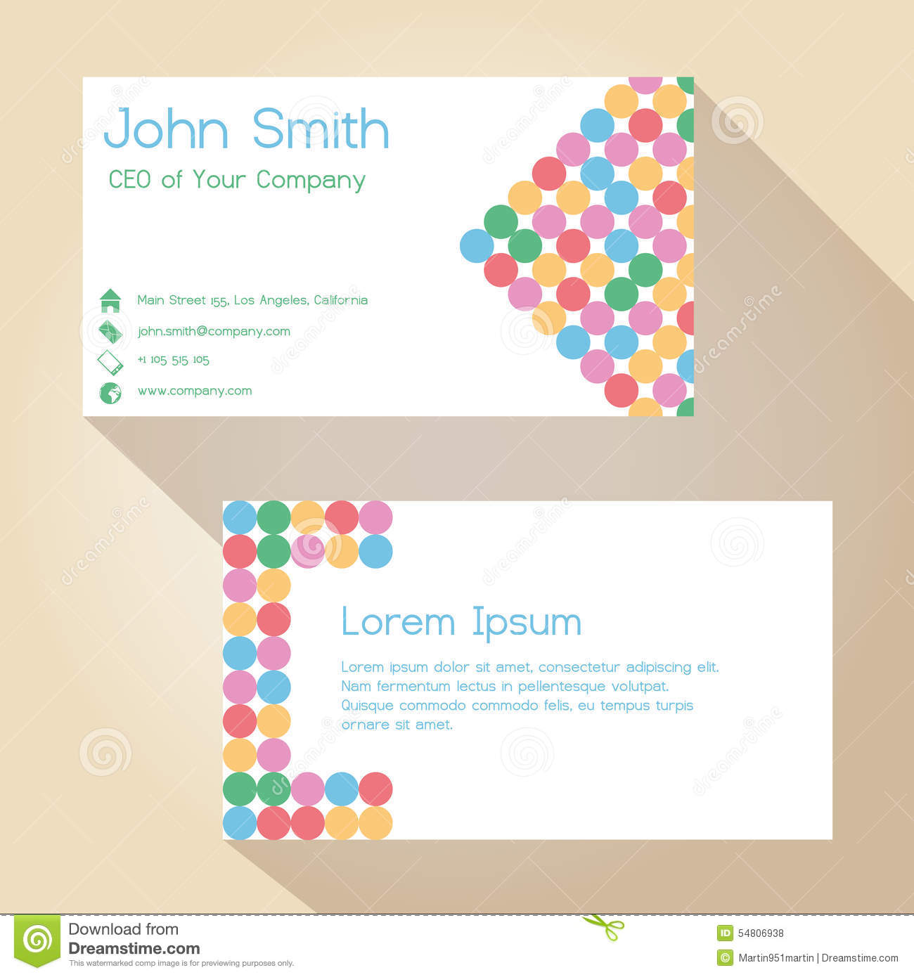 color funky dotted white simple business card design eps10 - Simple Business Card Design