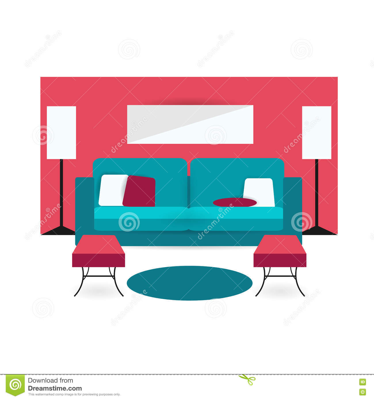 Sofa Icon In Flat And Cartoon Style Vector Illustration