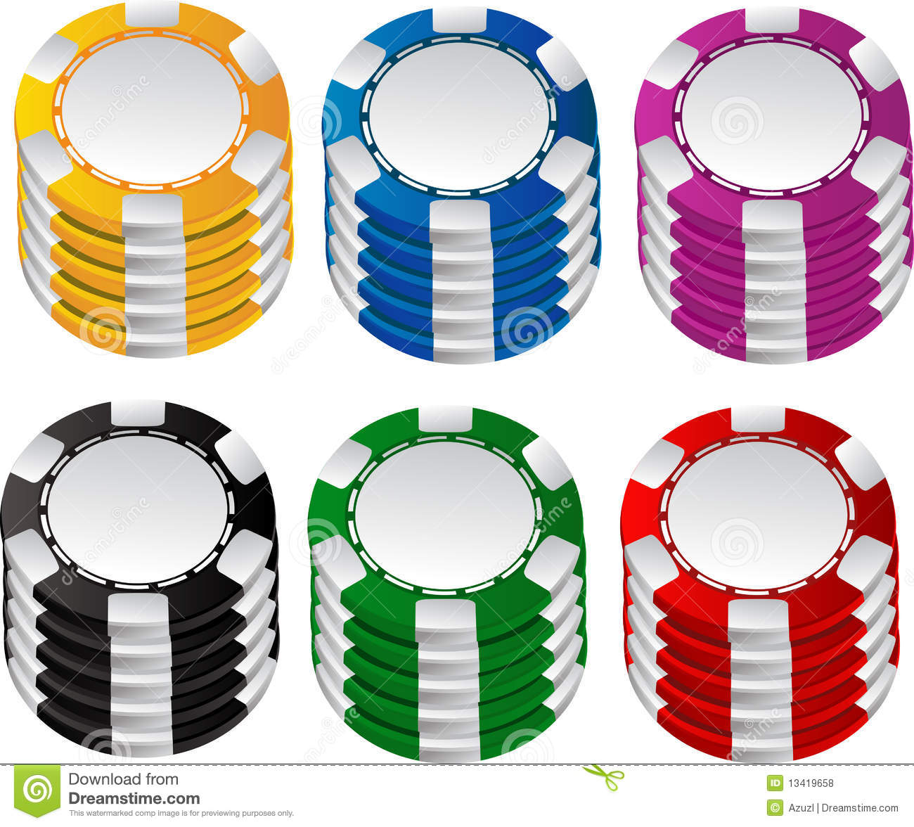 Color gambling chips set stock vector. Illustration of ...