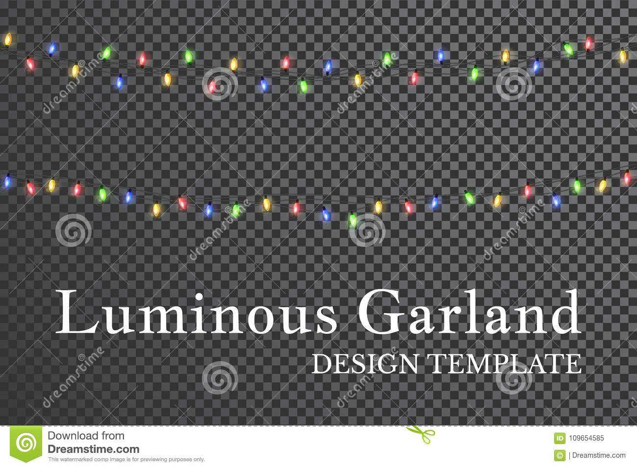 Color garland, festive decorations. Glowing christmas lights isolated on transparent background