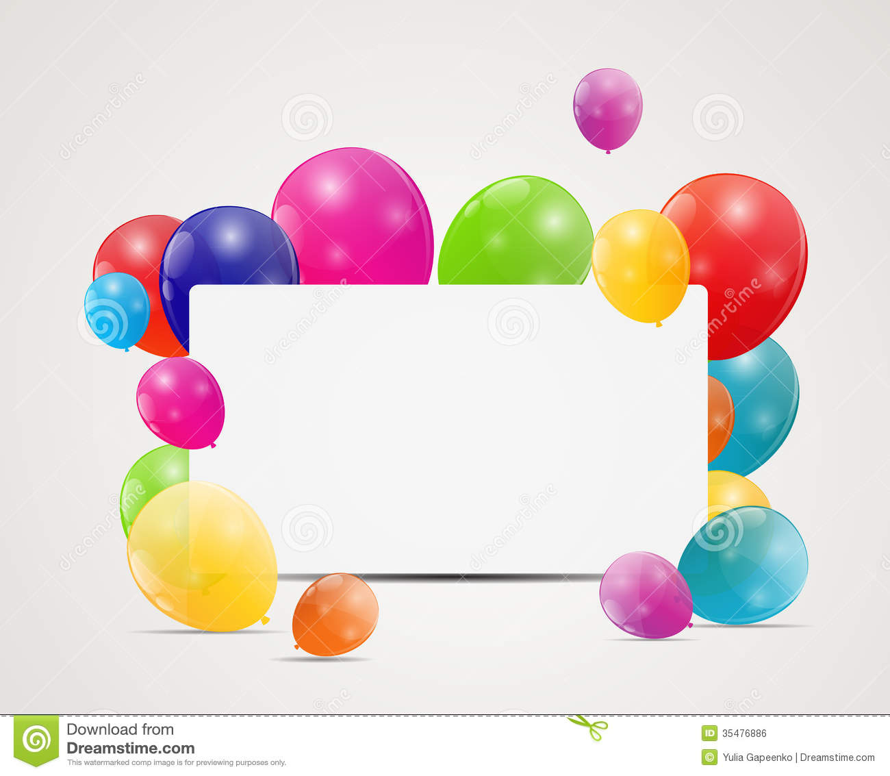 Color Glossy Balloons Birthday Card Background Royalty ...