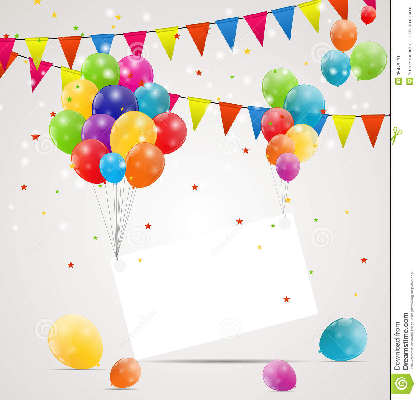 Color Glossy Balloons Birthday Card Background Stock