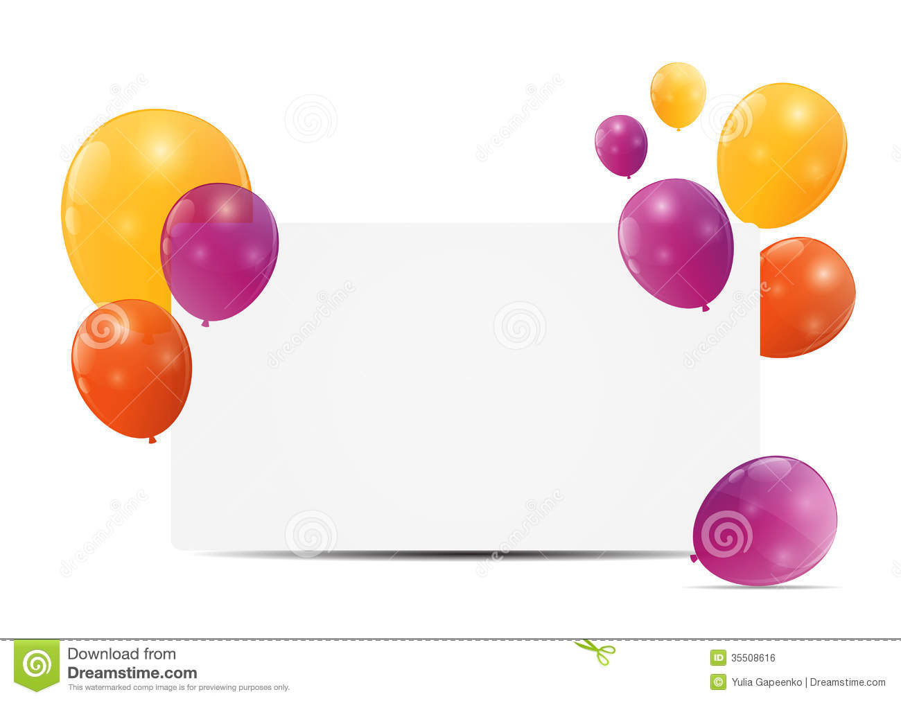 Color Glossy Balloons Birthday Card Background Royalty Free Stock ...