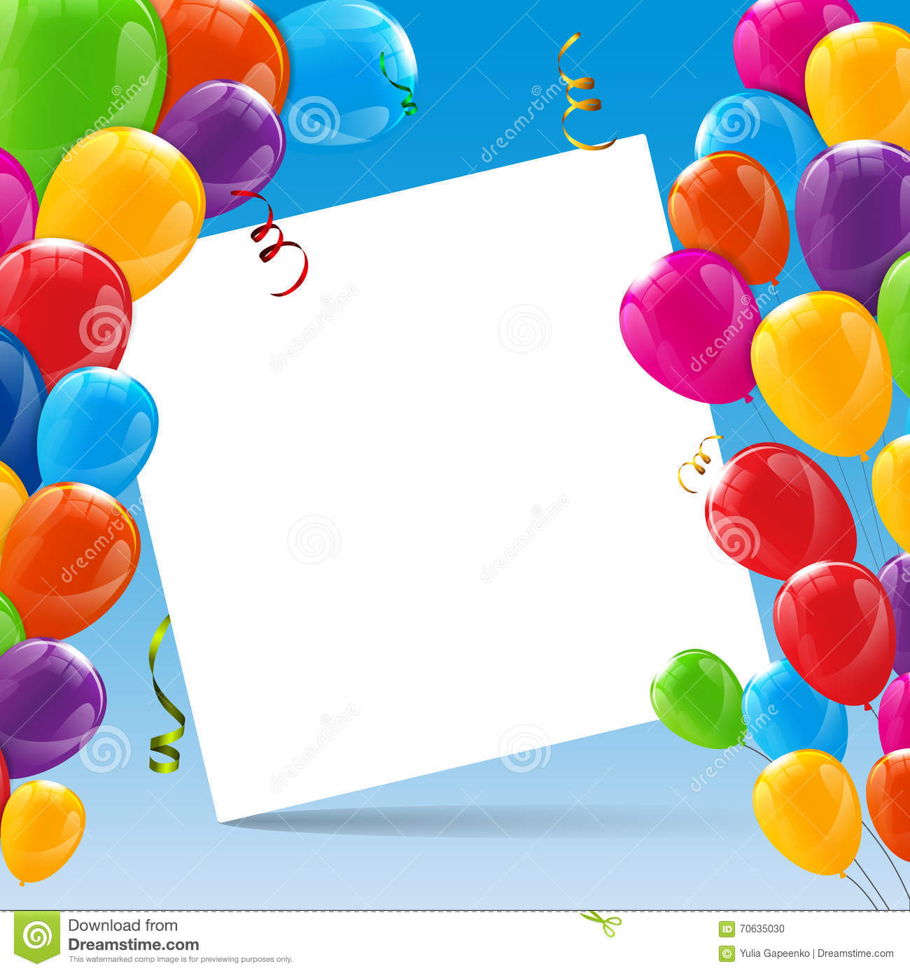 Color Glossy Happy Birthday Balloons Banner Background ...