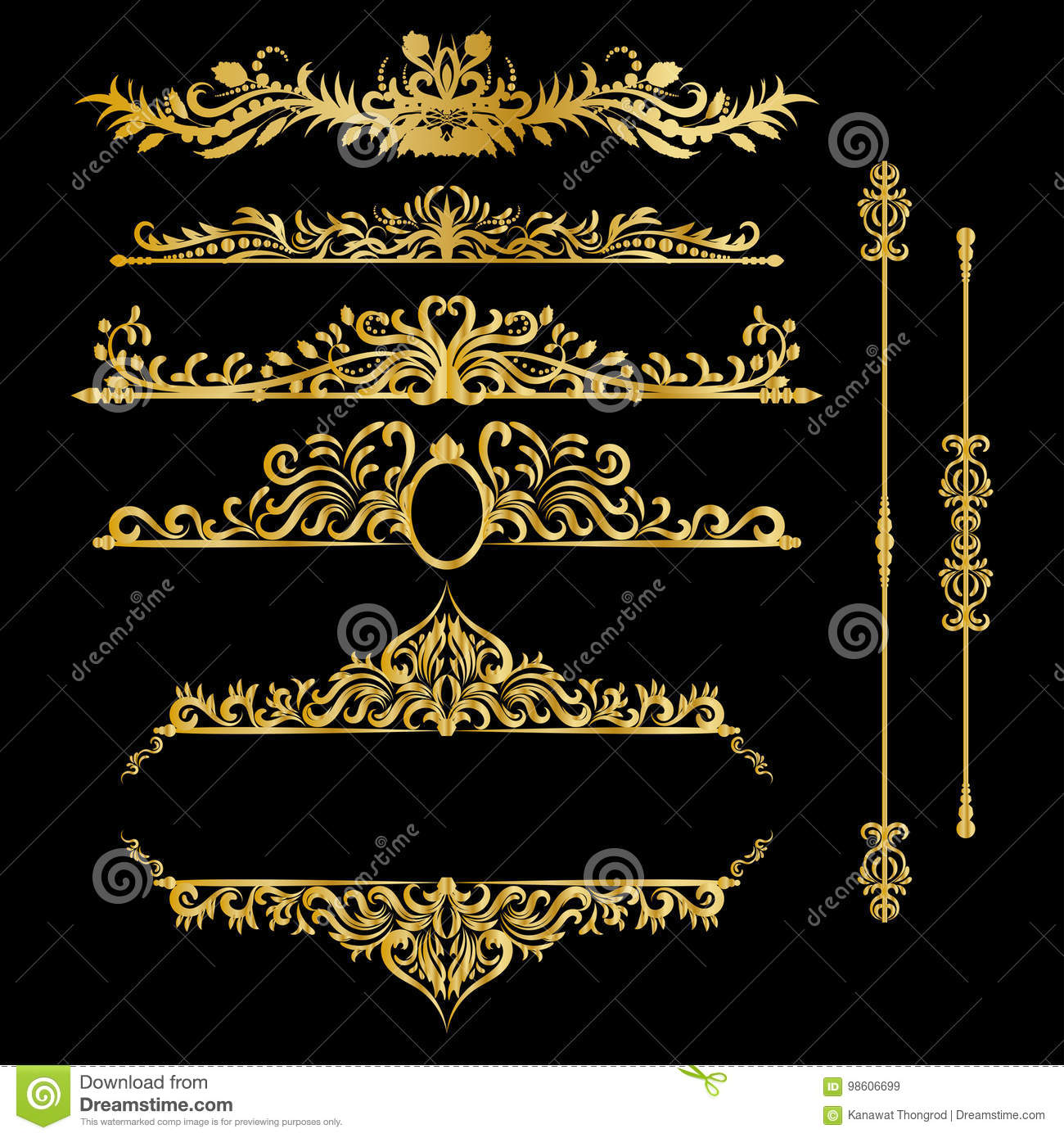 Color Gold Vintage Decorations Elements. Flourishes Calligraphic Ornaments and Frames. Retro Style Design