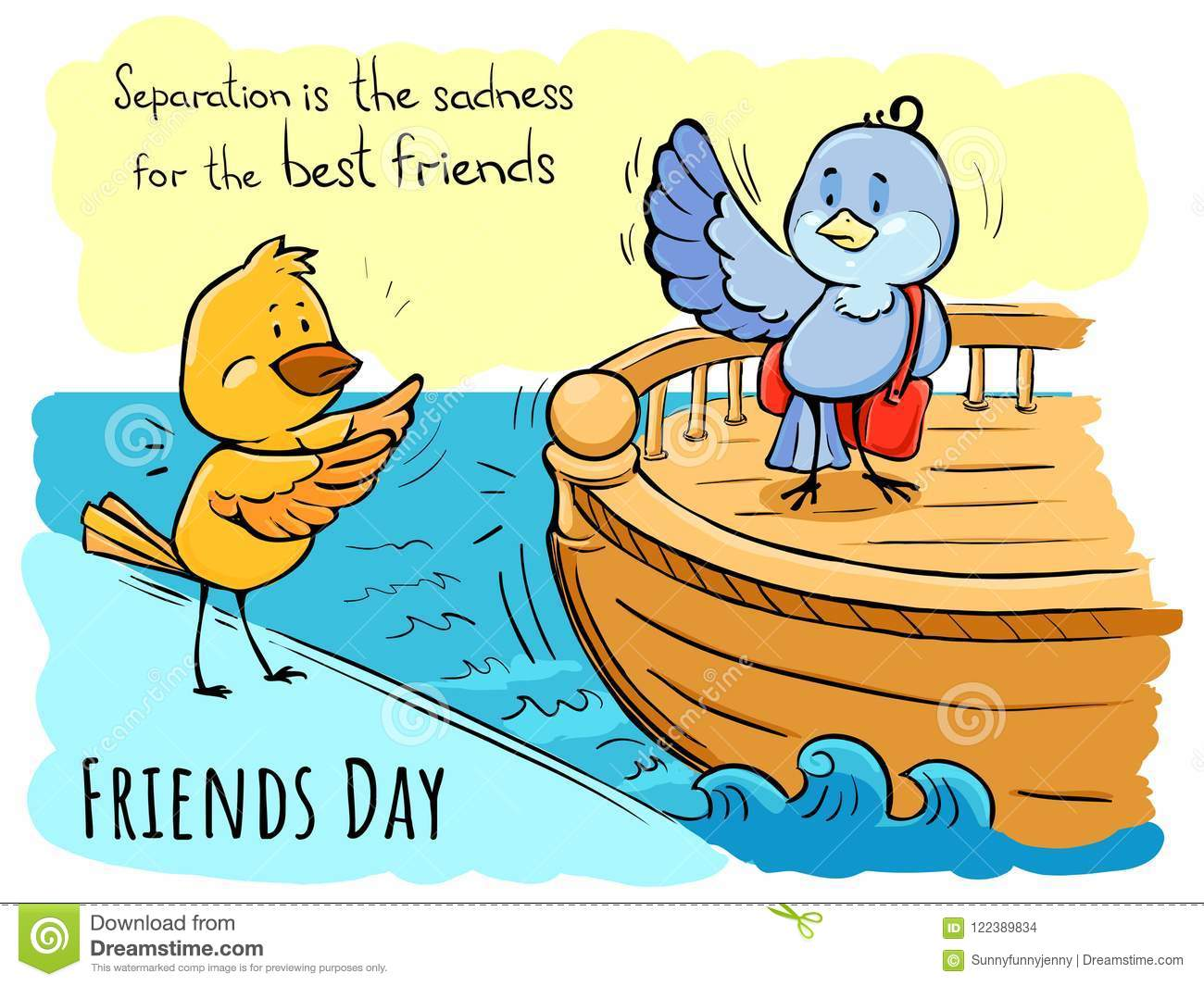 Color Greeting Card Friends Day Birds Separation Is Sadne Stock ...