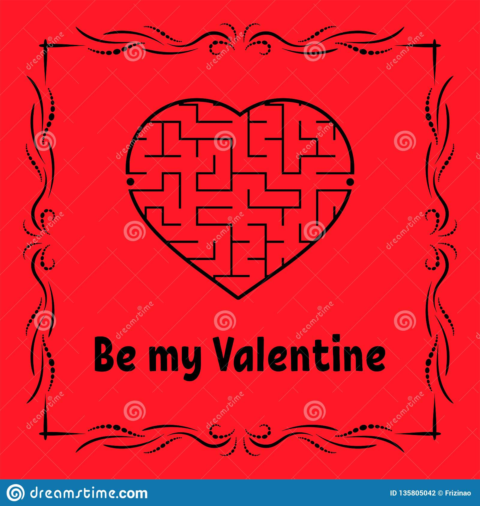 Color Greeting Card With Heart Shaped Labyrinth Happy Valentines
