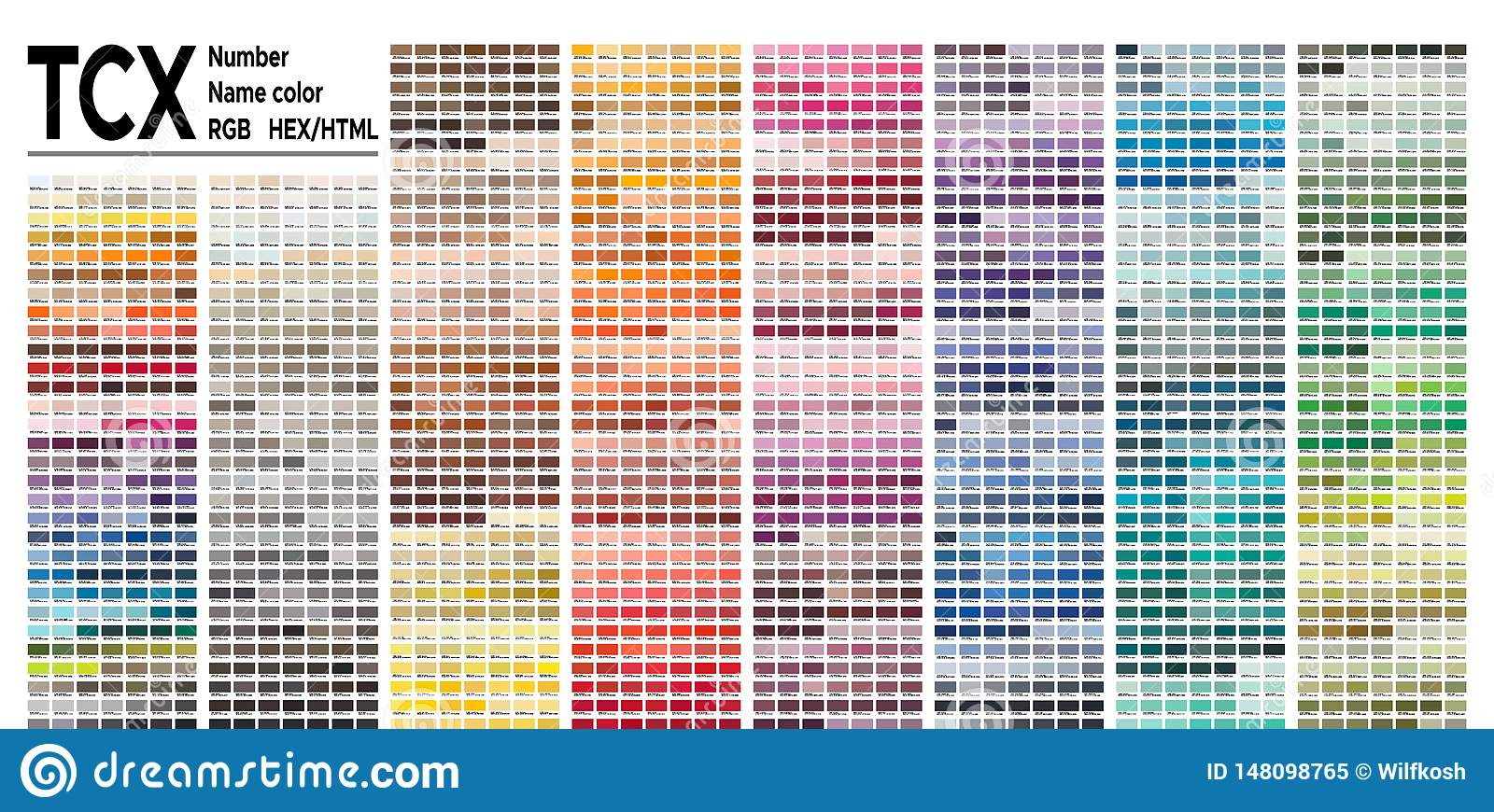 Color Table Pantone Fhi System Vector Color Palette With Number Named Color Swatches Chart Conform To Pantone Rgb Html And Hex Stock Vector Illustration Of Digital Abstract 148098765