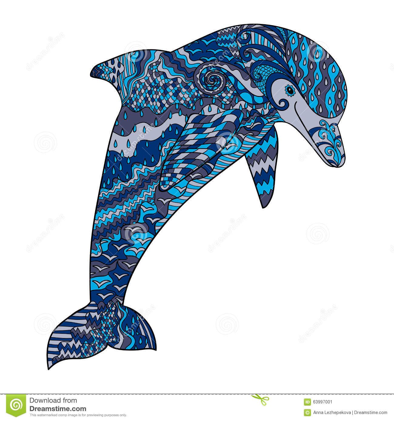 Color Hand Drawn Doodle Dolphin Stock Vector