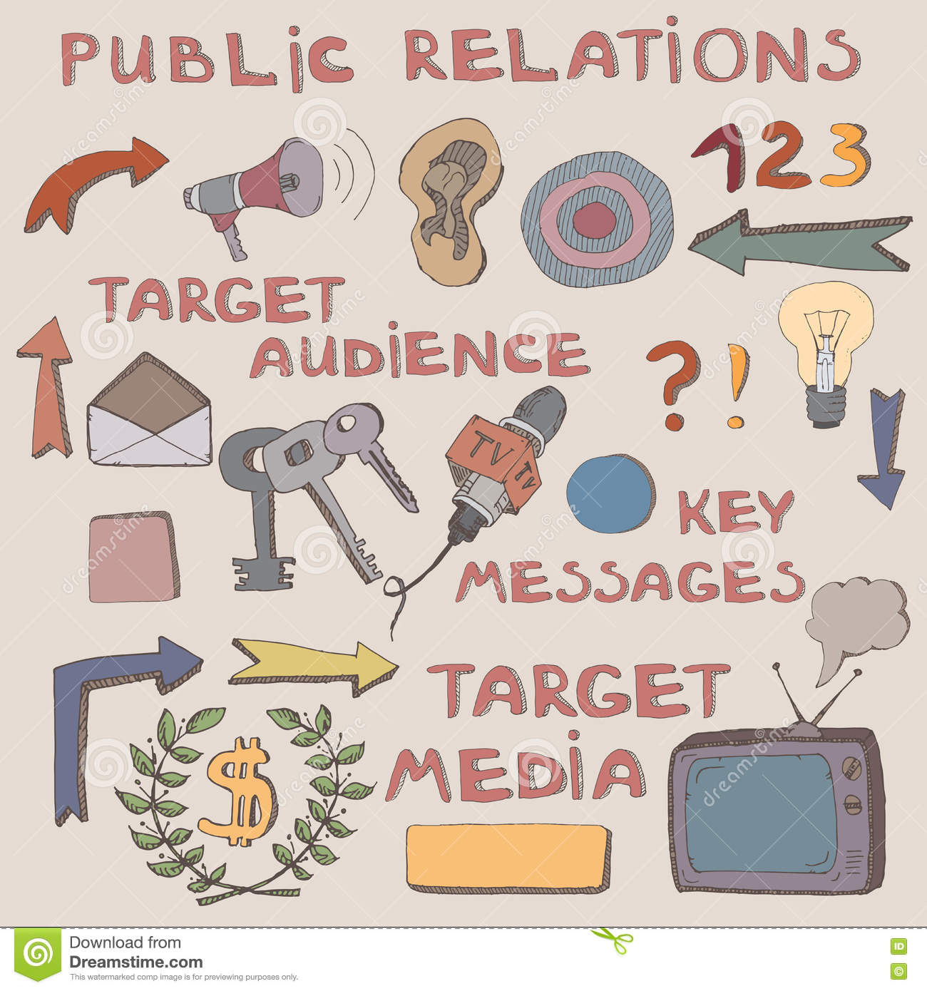 Color hand drawn sketch of public relations signs and symbols color hand drawn sketch of public relations signs and symbols buycottarizona Image collections