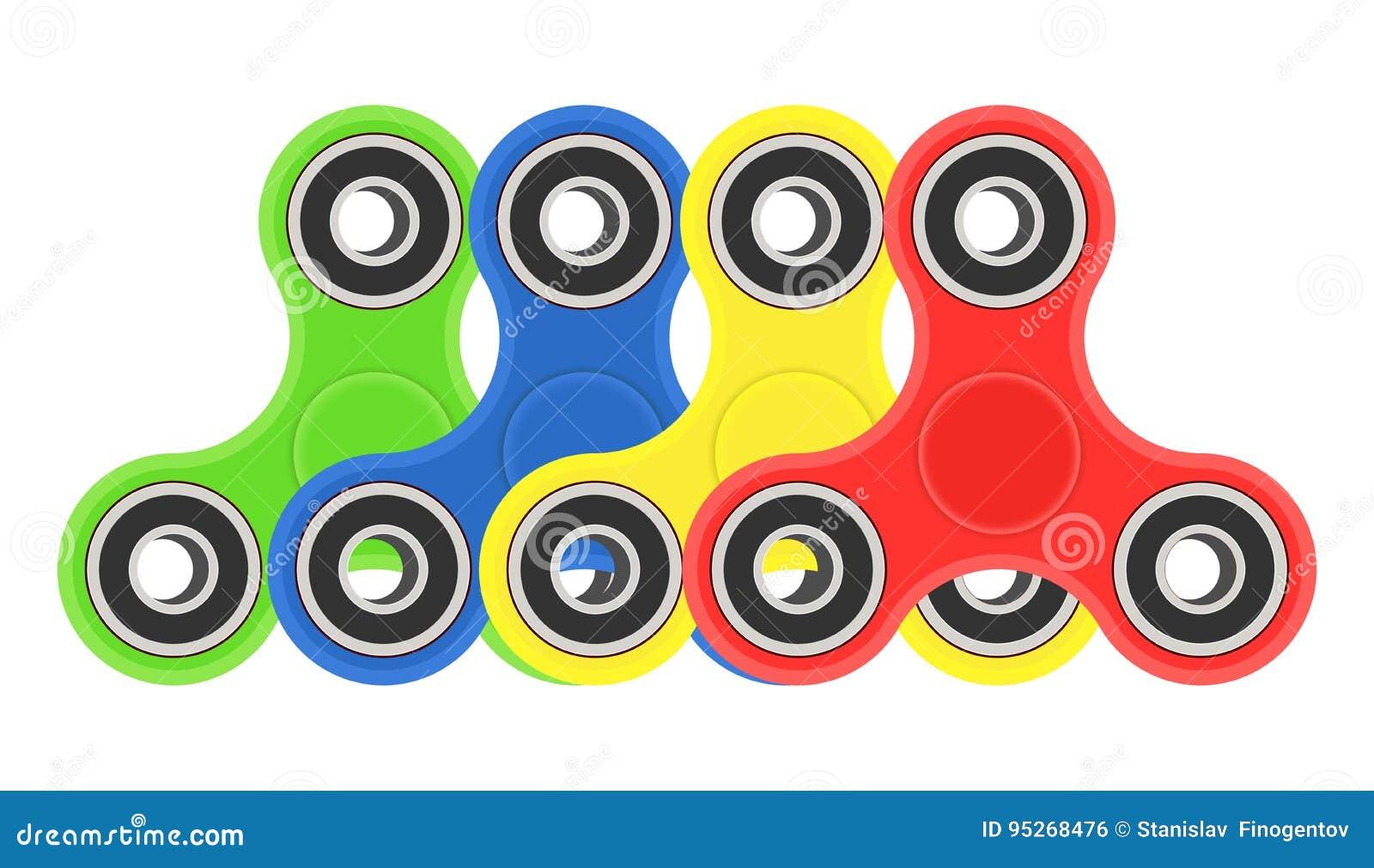 Download Color Hand Fidget Spinners Set Vector Illustration On White Background Stock